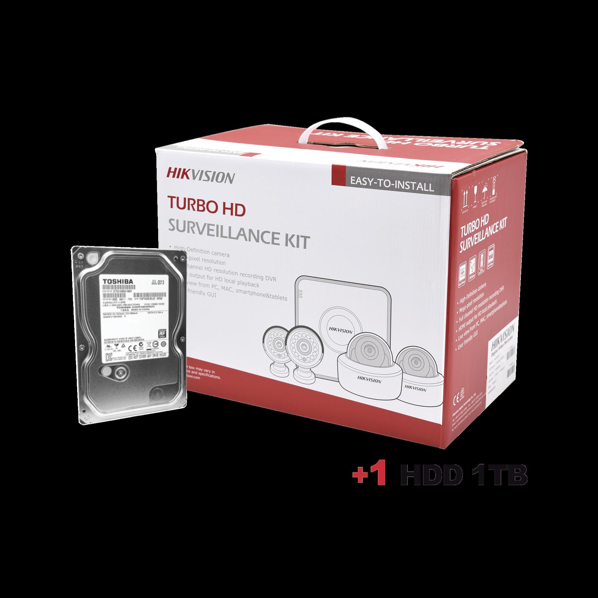 Disco duro 1 TB + Sistema Completo de CCTV 720p / Hik-Connect / DVR 4 Canales / 4 Camaras Bala / Cables / Fuente de Poder