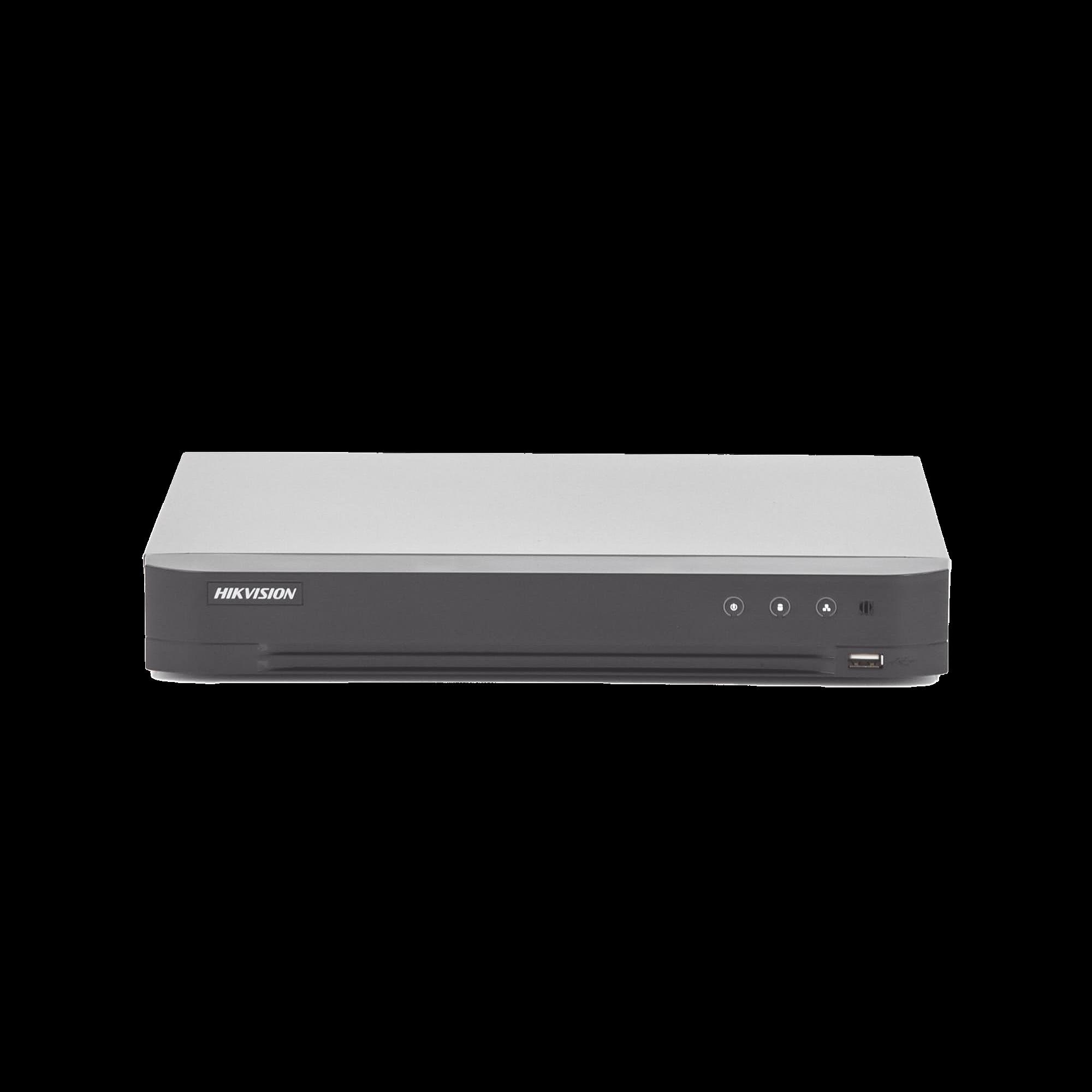 (Reconocimiento de Rostros / ACUSENSE) DVR 4 Megapixel / 4 Canales TURBOHD + 2 Canales IP / 1 Bahía de Disco Duro / 1 Canal de Audio / Audio por Coaxitron