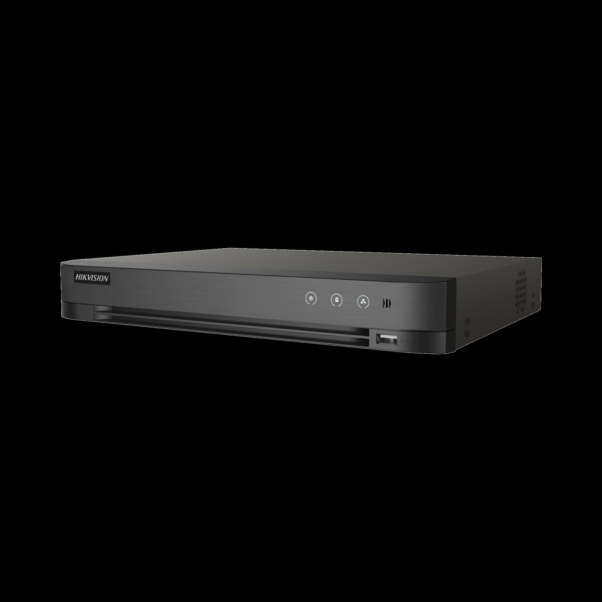 DVR 8 Megapixel / 4 Canales TURBOHD + 4 Canales IP / 1 Bahía de Disco Duro / Audio por Coaxitron / Detección de Rostros