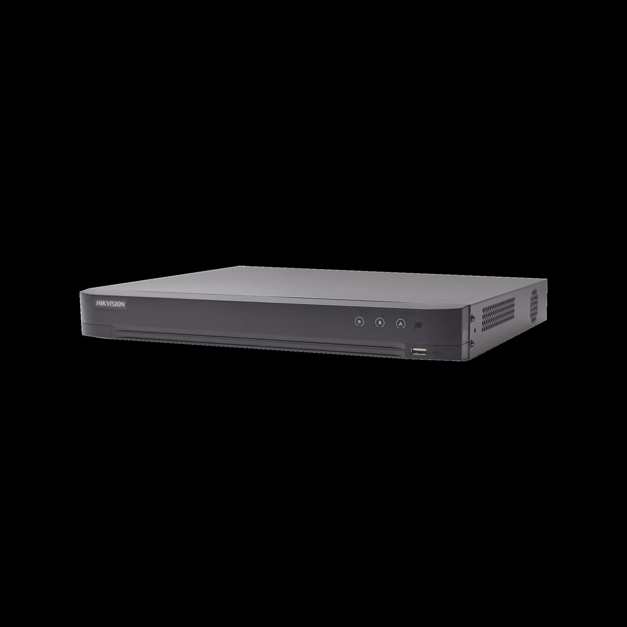 DVR 8 Megapixel / 4 Canales TURBOHD + 4 Canales IP / 1 Bahía de Disco Duro / Audio por Coaxitron / 4 Entradas de Alarma / 1 Salida de Alarma / Detección de Rostros / H.265+