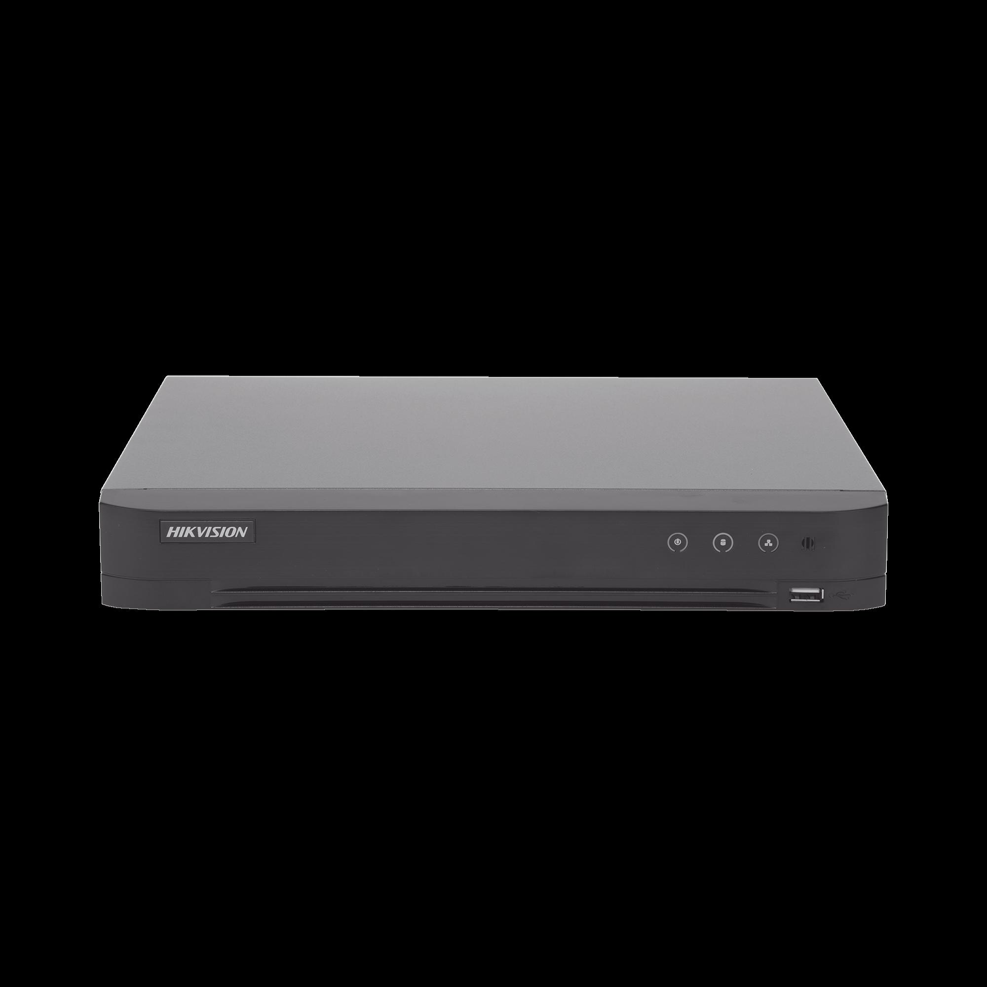 (ACUSENSE / Evita Falsas Alarmas) DVR 4 Megapixel / 8 Canales TURBOHD + 4 Canales IP / Detección de Rostros / 1 Bahía de Disco Duro / Audio por Coaxitron / Salida de Vídeo en Full HD
