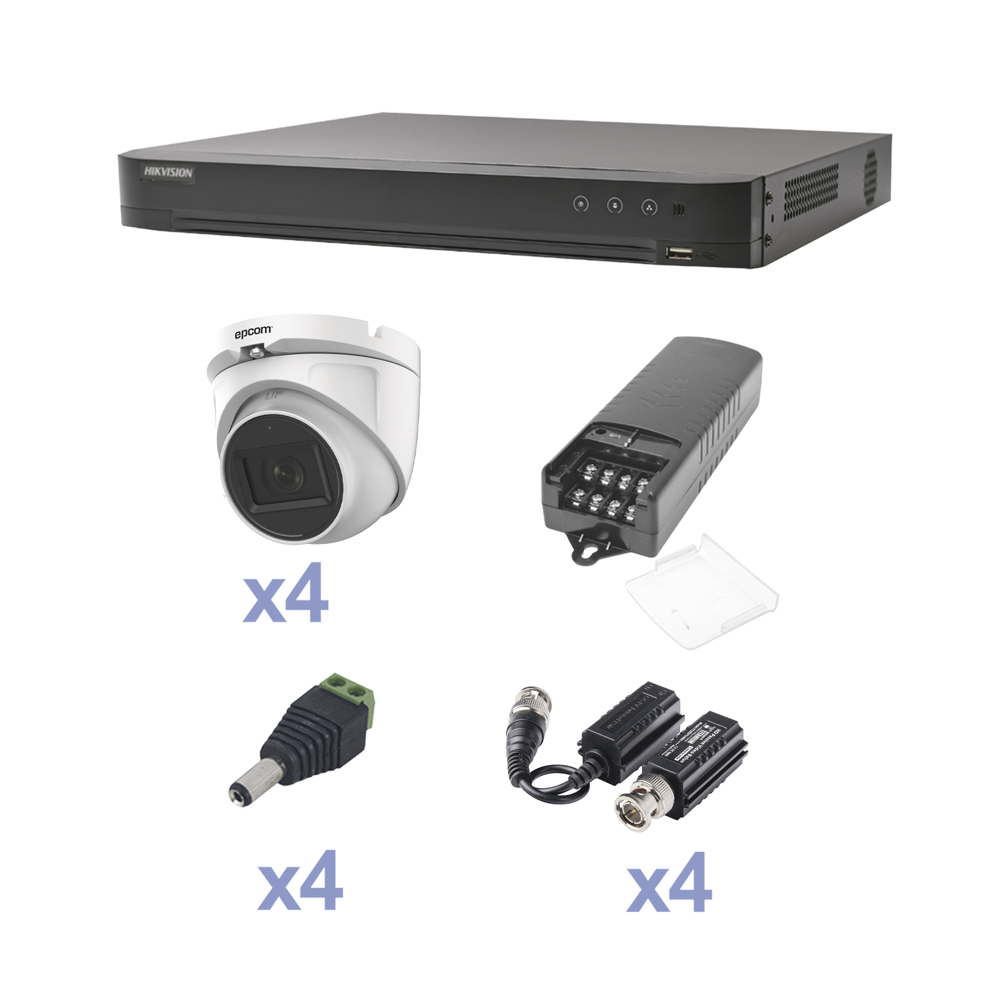 KIT TurboHD con Audio 1080p / DVR 4 Canales / 4 Cámaras Domo (exterior 2.8 mm) / Transceptores / Conectores / Fuente de Poder / AUDIO POR COAXITRON