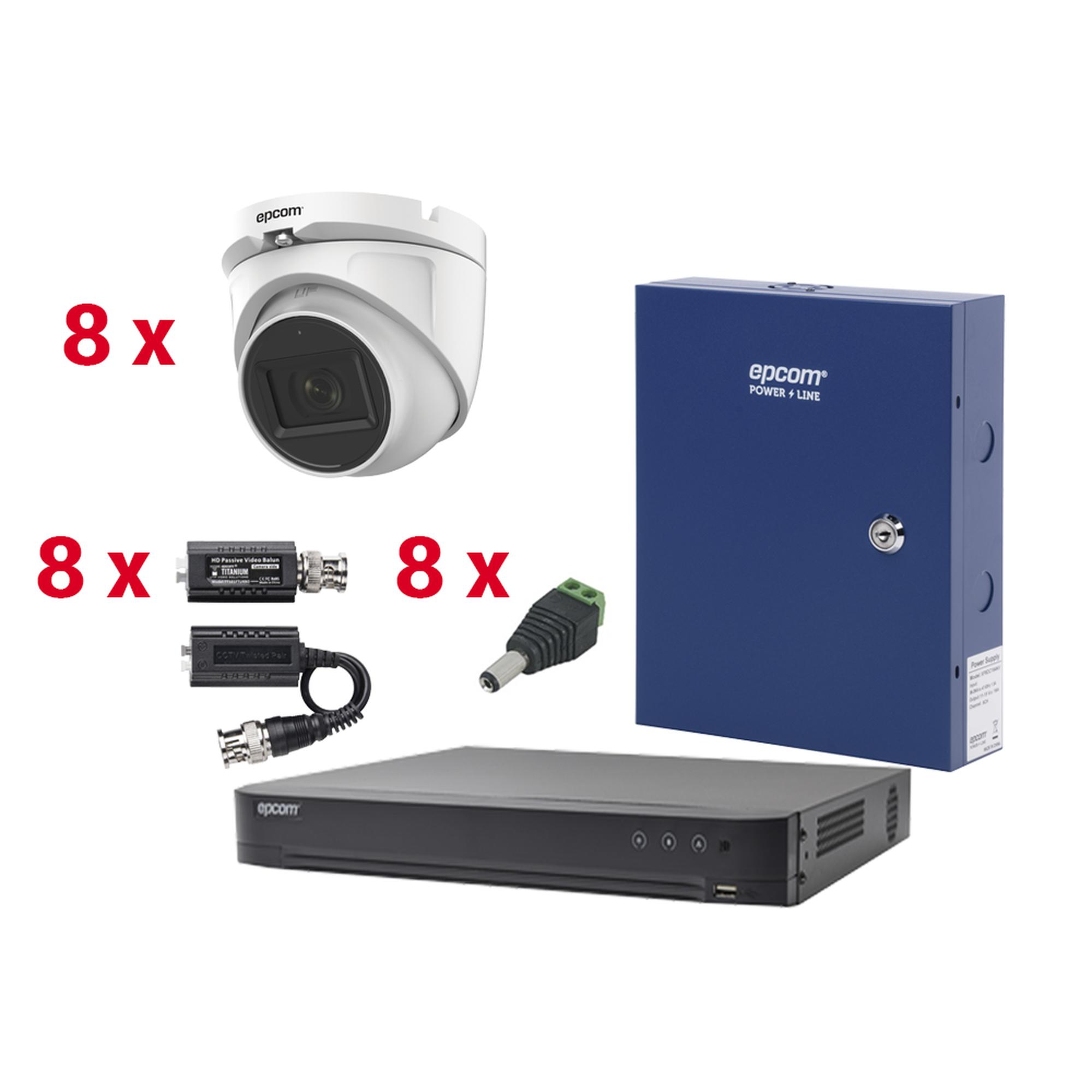 KIT TurboHD con Audio 1080p / DVR 8 Canales / 8 Cámaras Domo (exterior 2.8 mm) / Transceptores / Conectores / Fuente de Poder / AUDIO POR COAXITRON