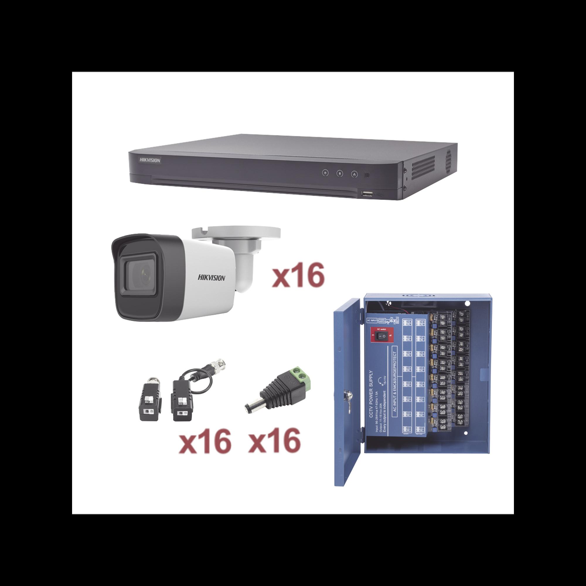 KIT TurboHD 1080p / DVR 16 Canales / 16 Cámaras Bala (exterior 2.8 mm) / Transceptores / Conectores / Fuente de Poder Profesional