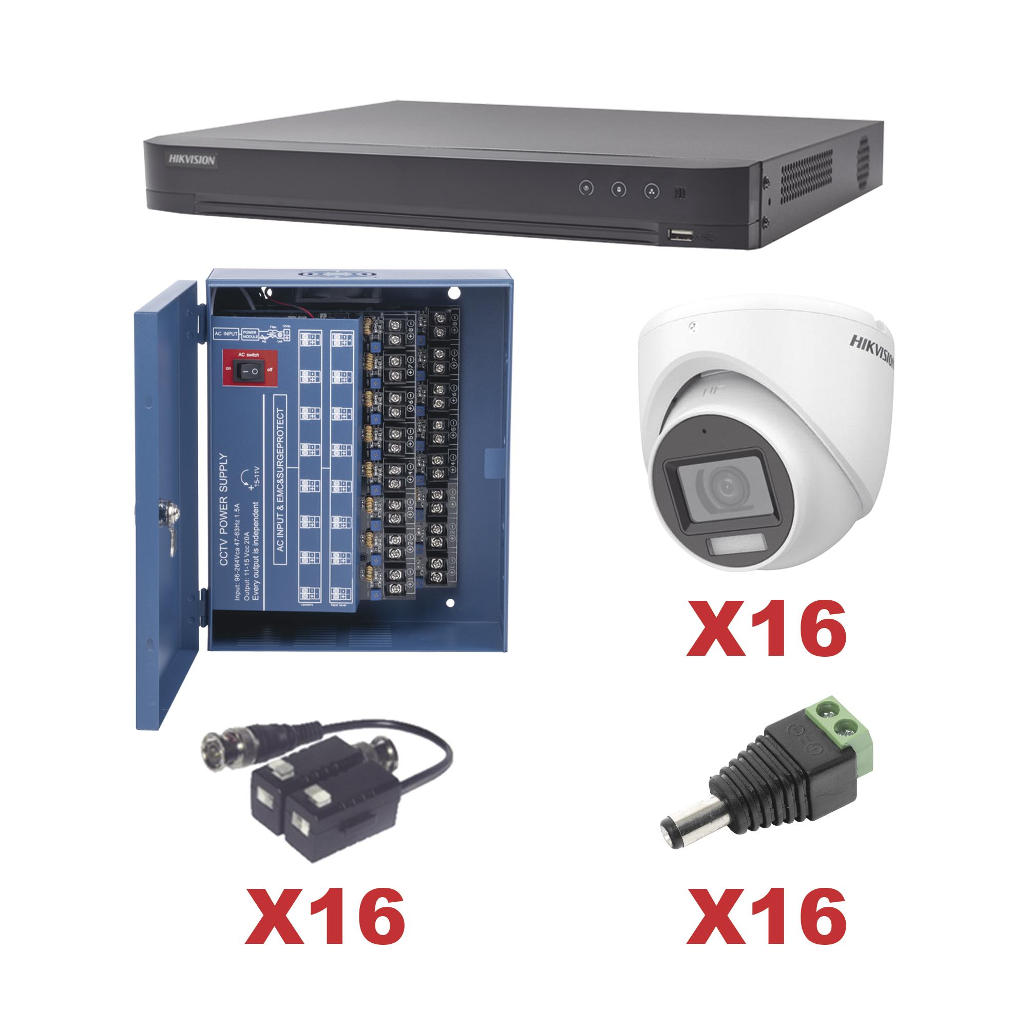 KIT TurboHD 1080p / DVR 16 Canales / 16 Cámaras turret (exterior 2.8 mm) / Transceptores / Conectores / Fuente de Poder Profesional