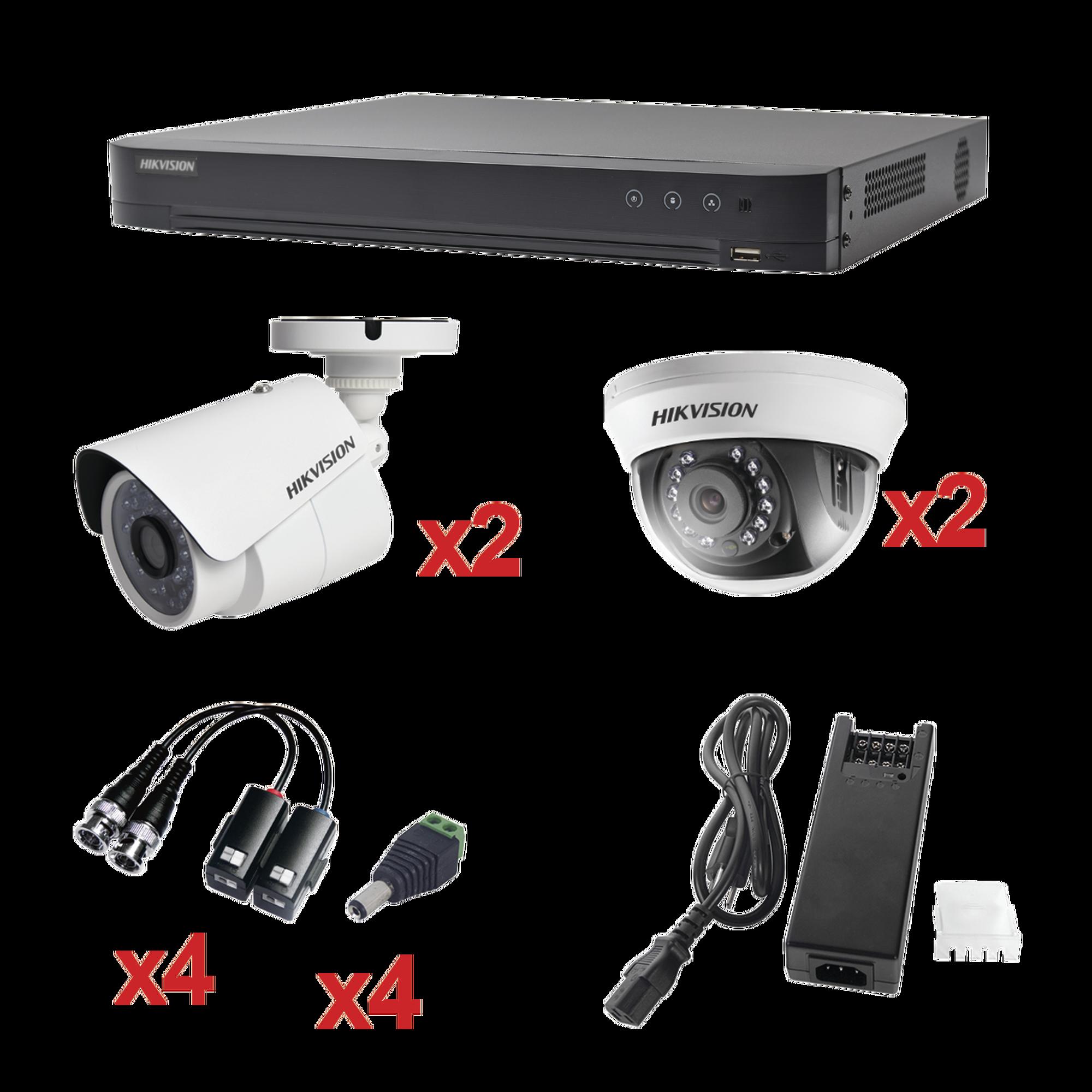 Sistema HIKVISION TURBOHD 1080p / DVR 4 Canales / 2 Cámaras Bala (exterior 2.8 mm) / 2 Cámaras Domo (interior 2.8 mm) / Transceptores / Conectores / Fuente de Poder Profesional