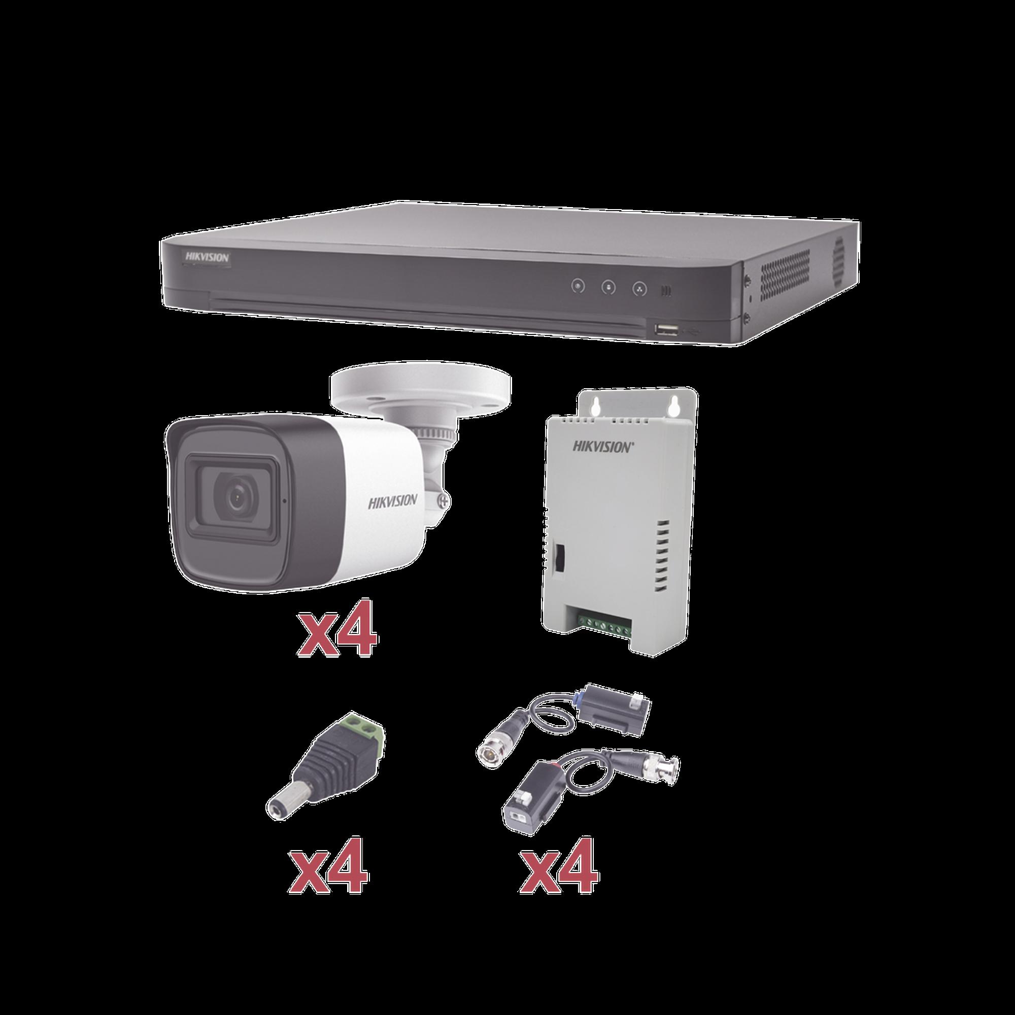 Sistema HIKVISION TURBOHD 1080p / DVR 4 Canales / 4 Cámaras Bala (exterior 2.8 mm) / Transceptores / Conectores / Fuente de Poder Profesional