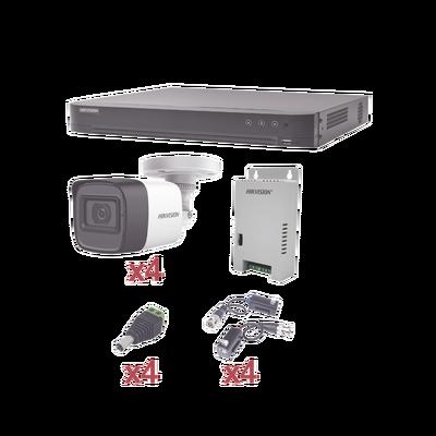 KIT TurboHD 1080p / DVR 4 Canales / 4 Cámaras Bala (exterior 2.8 mm) / Transceptores / Conectores / Fuente de Poder Profesional