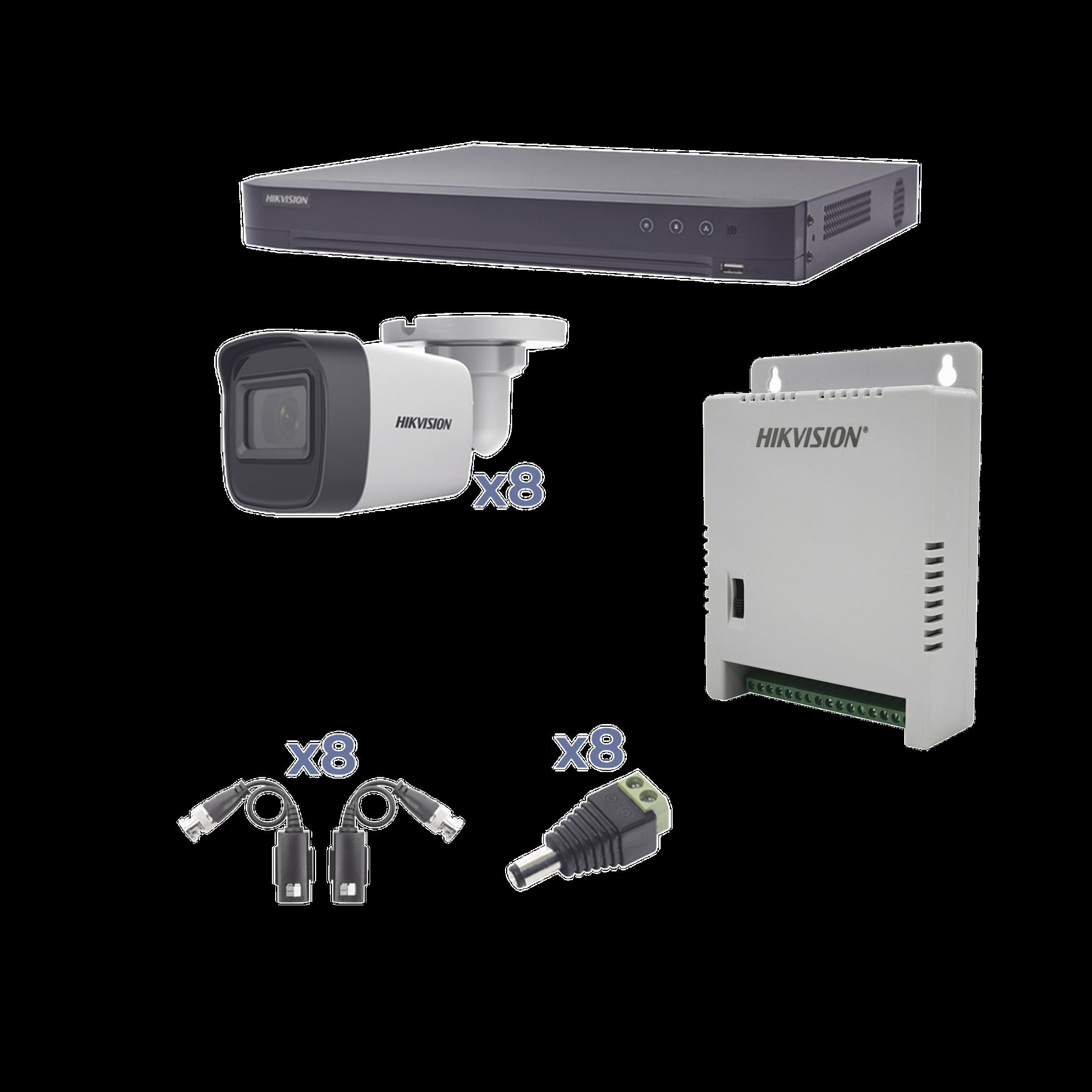 KIT TurboHD 1080p / DVR 8 Canales / 8 Cámaras Bala (exterior 2.8 mm) / Transceptores / Conectores / Fuente de Poder Profesional hasta 15 Vcd para Larga Distancia