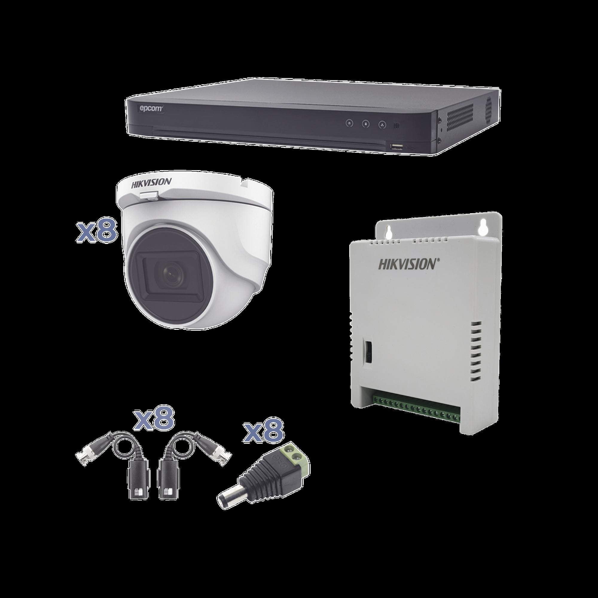 Kit TURBOHD 1080p / DVR 8 Canales / 8 Cámaras Turret (exterior 2.8 mm) / Conectores / Transceptores / Fuente de Poder Profesional hasta 15 Vcd para Larga Distancia