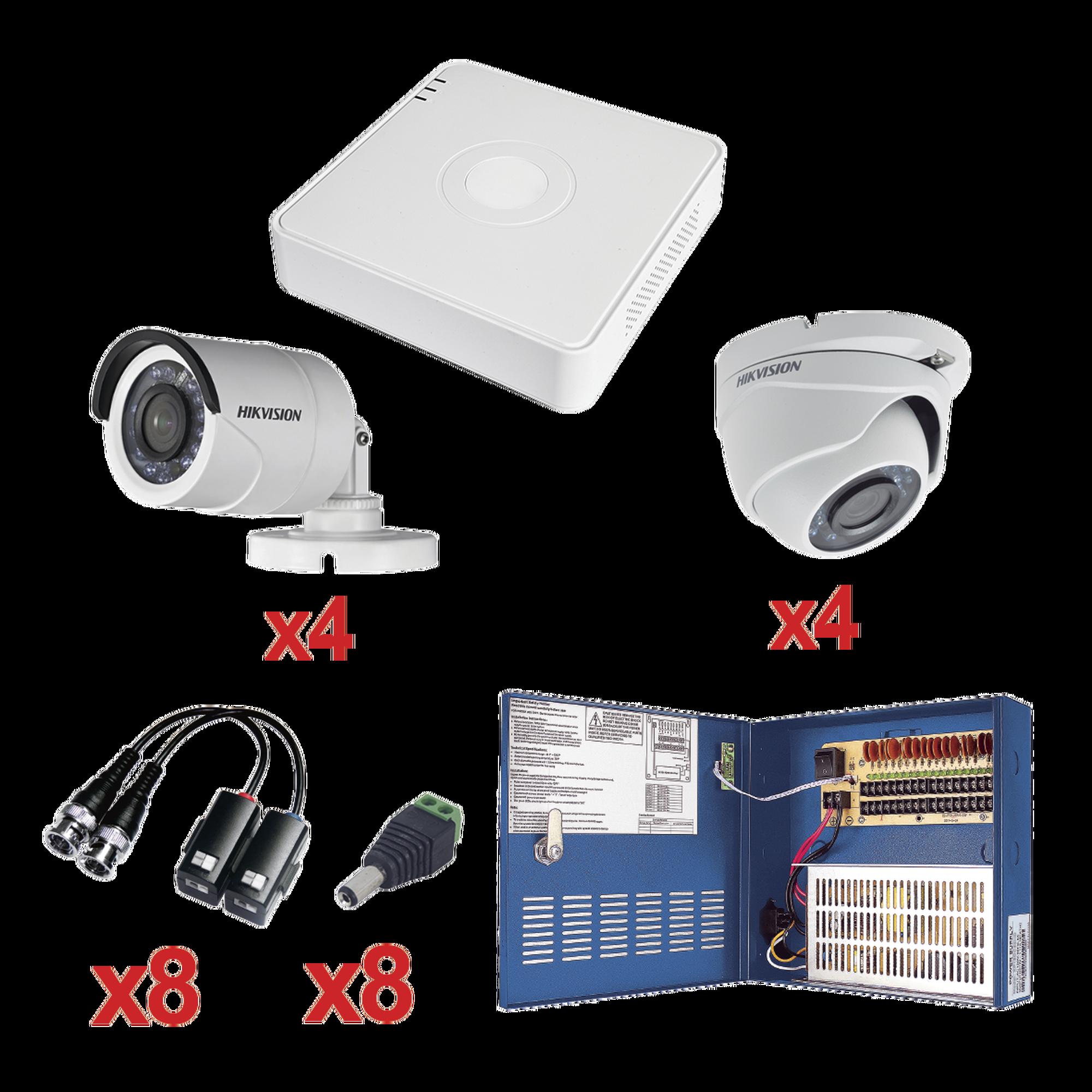 Sistema HIKVISION TURBOHD 720p / Incluye DVR 8 Ch / 4 Cámaras Bala 3.6 mm / 4 Cámaras Eyeball 2.8 mm / Transceptores / Conectores / Fuente de Poder Profesional hasta 15 Vcd para Larga Distancias