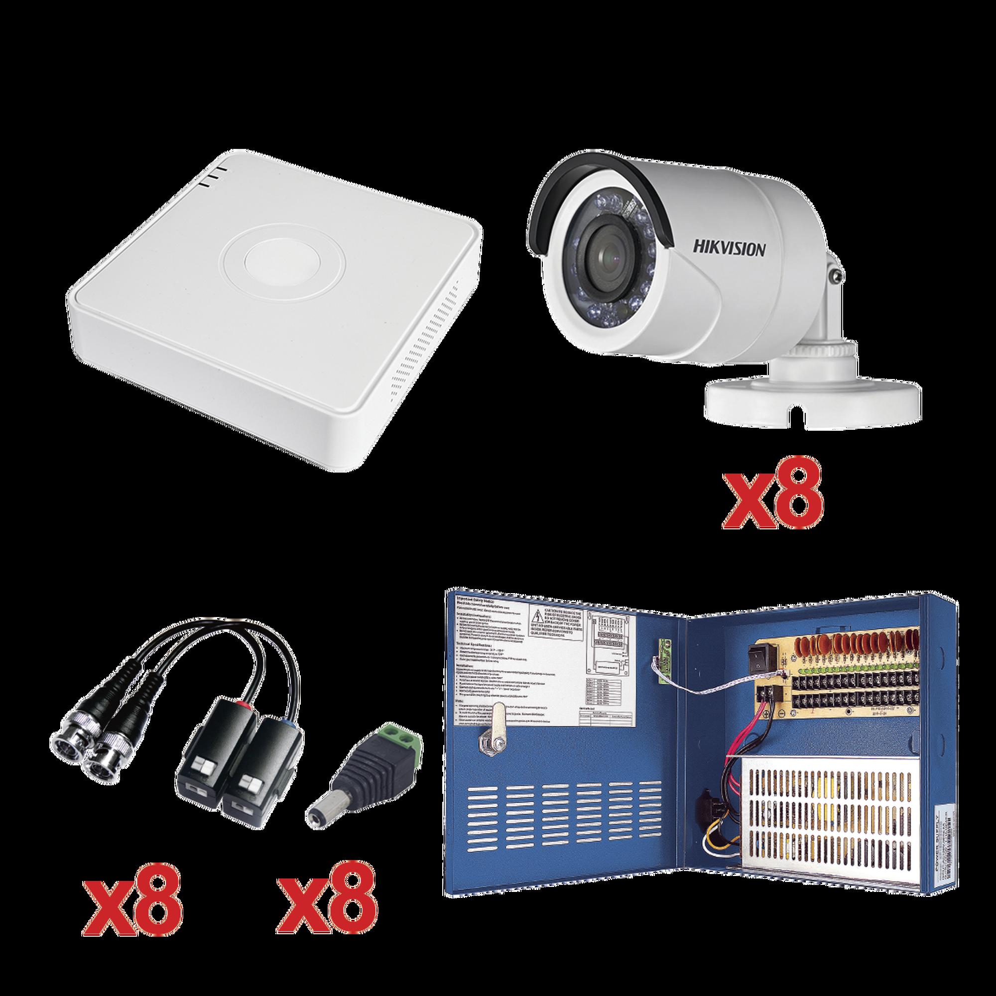 Sistema HIKVISION TURBOHD 720p / DVR 8 Canales / 8 Cámaras Bullet 3.6 mm / Transceptores / Conectores / Fuente de Poder Profesional hasta 15 Vcd para Larga Distancia