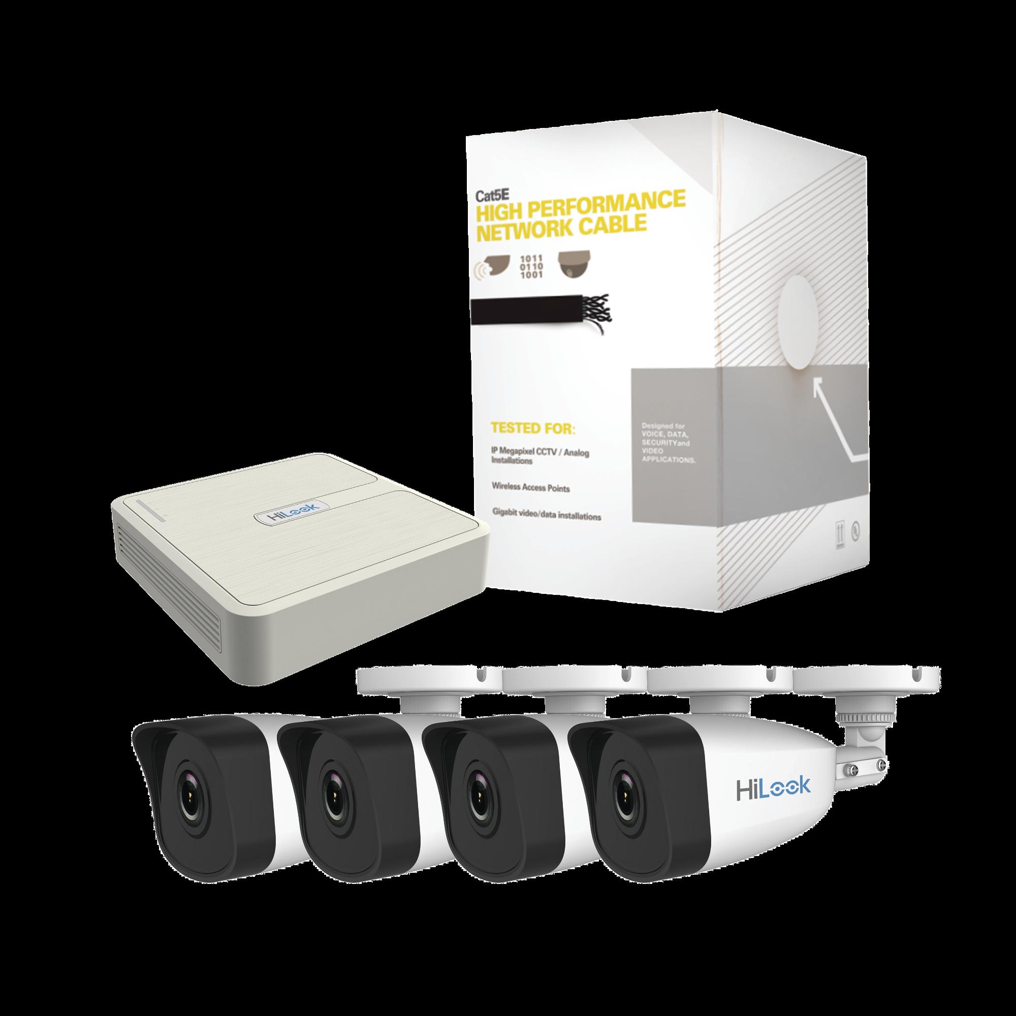 Kit IP de 4 Canales de 1 Megapixel / NVR de 4 Canales + 4 Cámaras IP + Bobina de Cable de 100 mts