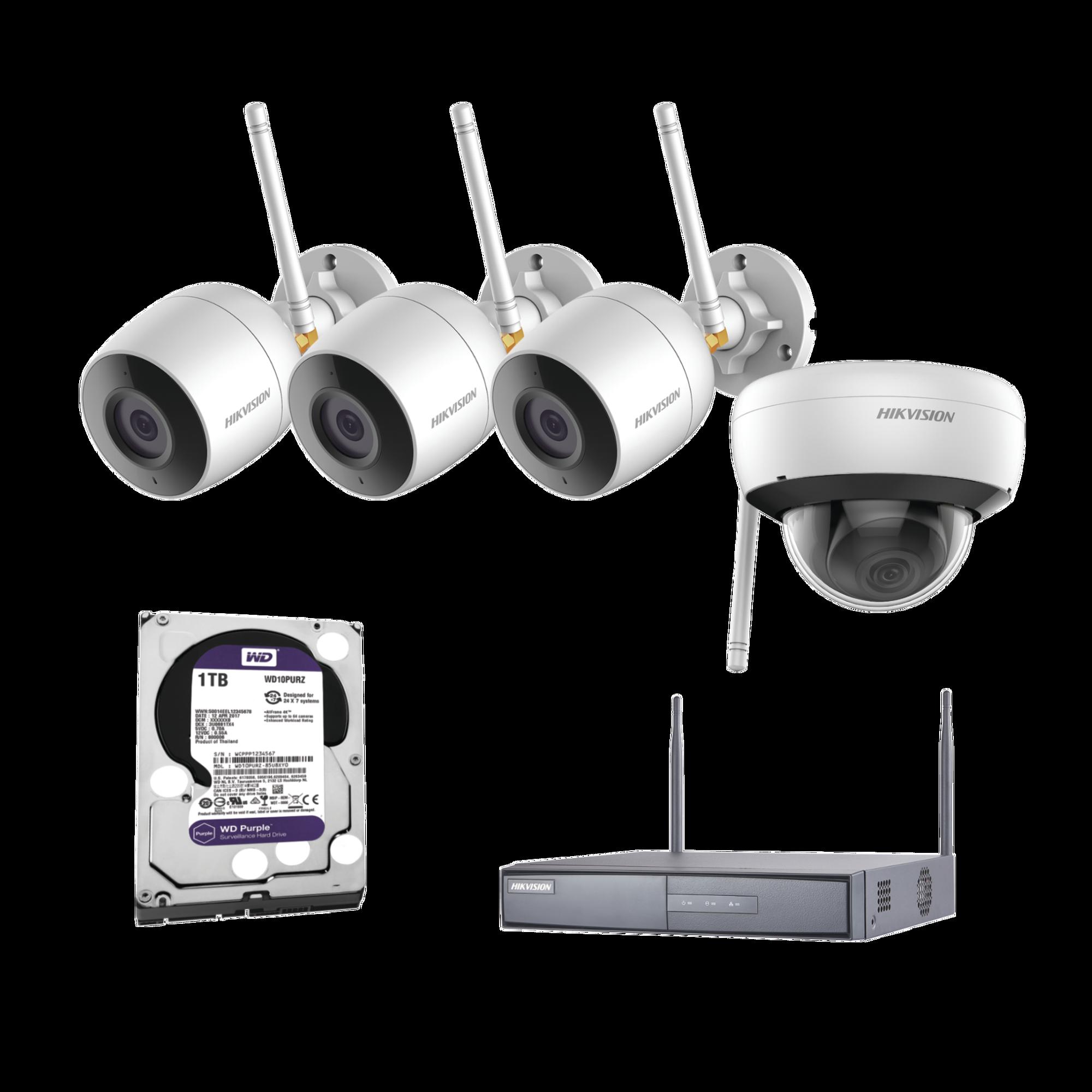 Sistema IP Inalambrico 1080p / NVR 4 Canales / 3 Cámaras bala (exterior IP66) con microfono interconstruido / 1 Cámara domo (exterior IP66) / 1 Disco duro