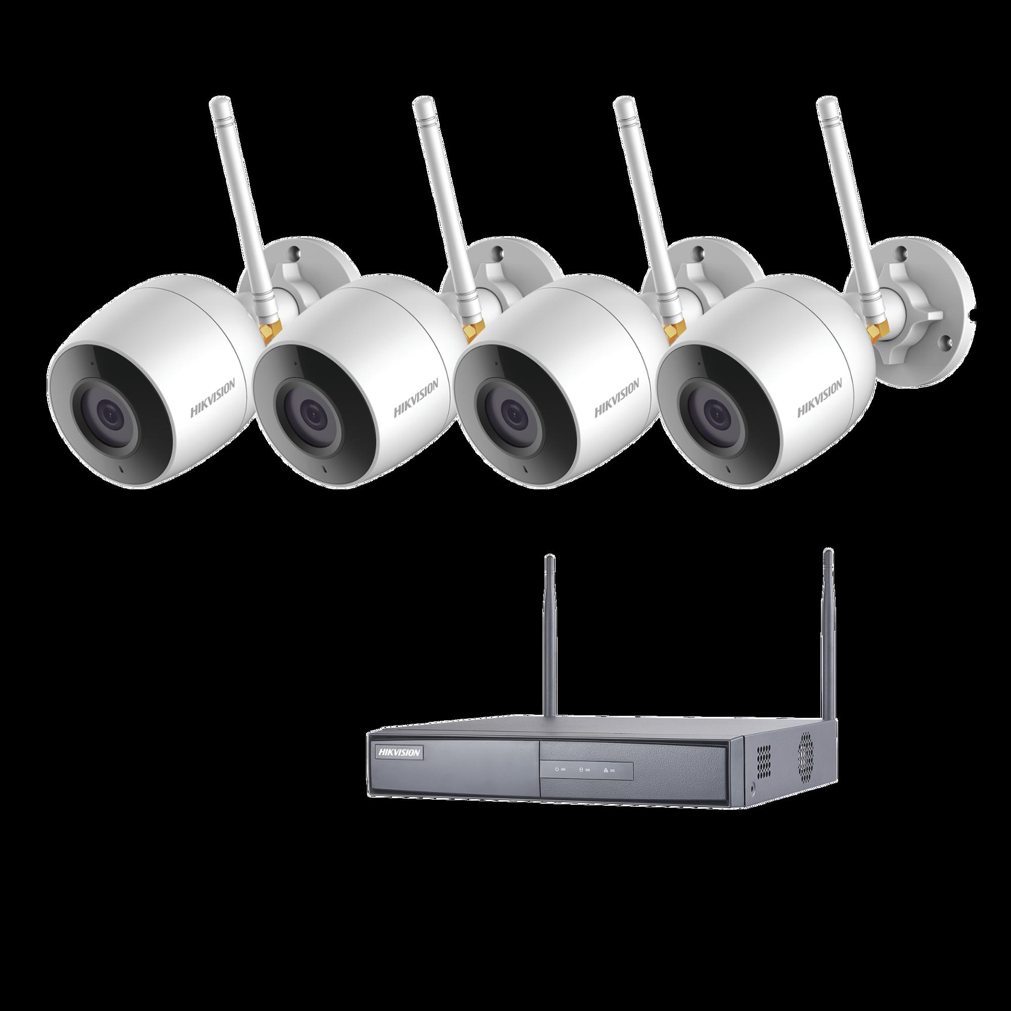 Sistema IP Inalambrico 1080p / NVR 4 Canales / 4 Cámaras bala (exterior IP66) con micrófono interconstruido