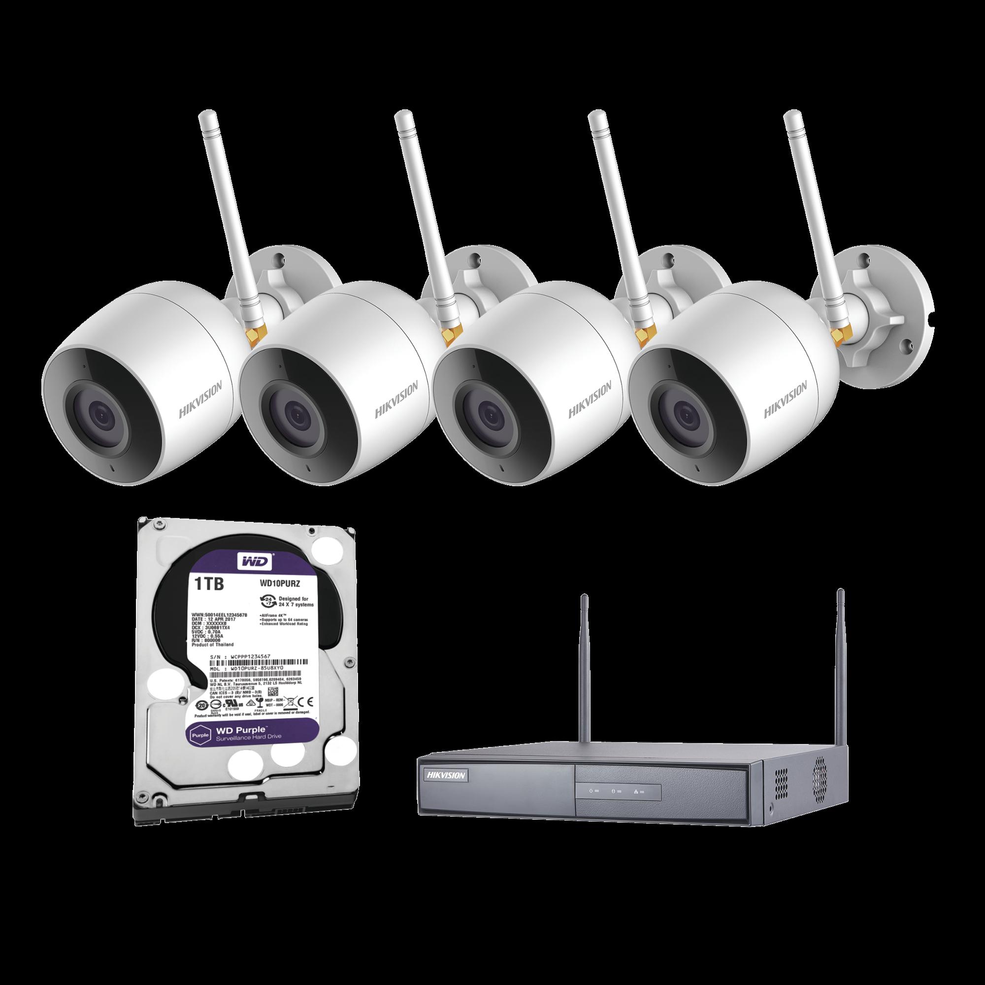 Sistema IP Inalambrico 1080p / NVR 4 canales / 4 cámaras bala (exterior IP66) con microfono interconstruido / Disco duro 1TB serie purpura