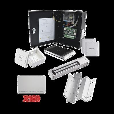 Kit de Control de Acceso con TARJETA para 1 Puerta con lector de Entrada y Salida  / TODO INCLUIDO / Software IVMS4200 incluido
