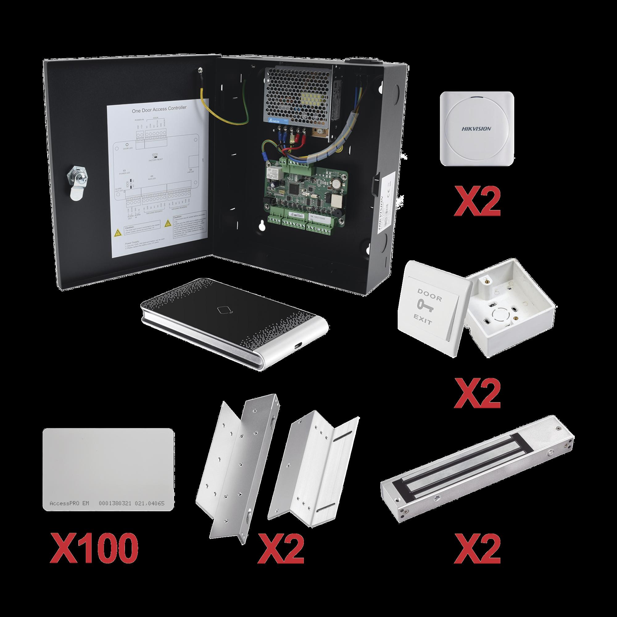 Kit de Control de Acceso con TARJETA para 2 Puertas   / TODO INCLUIDO / Software IVMS4200 incluido