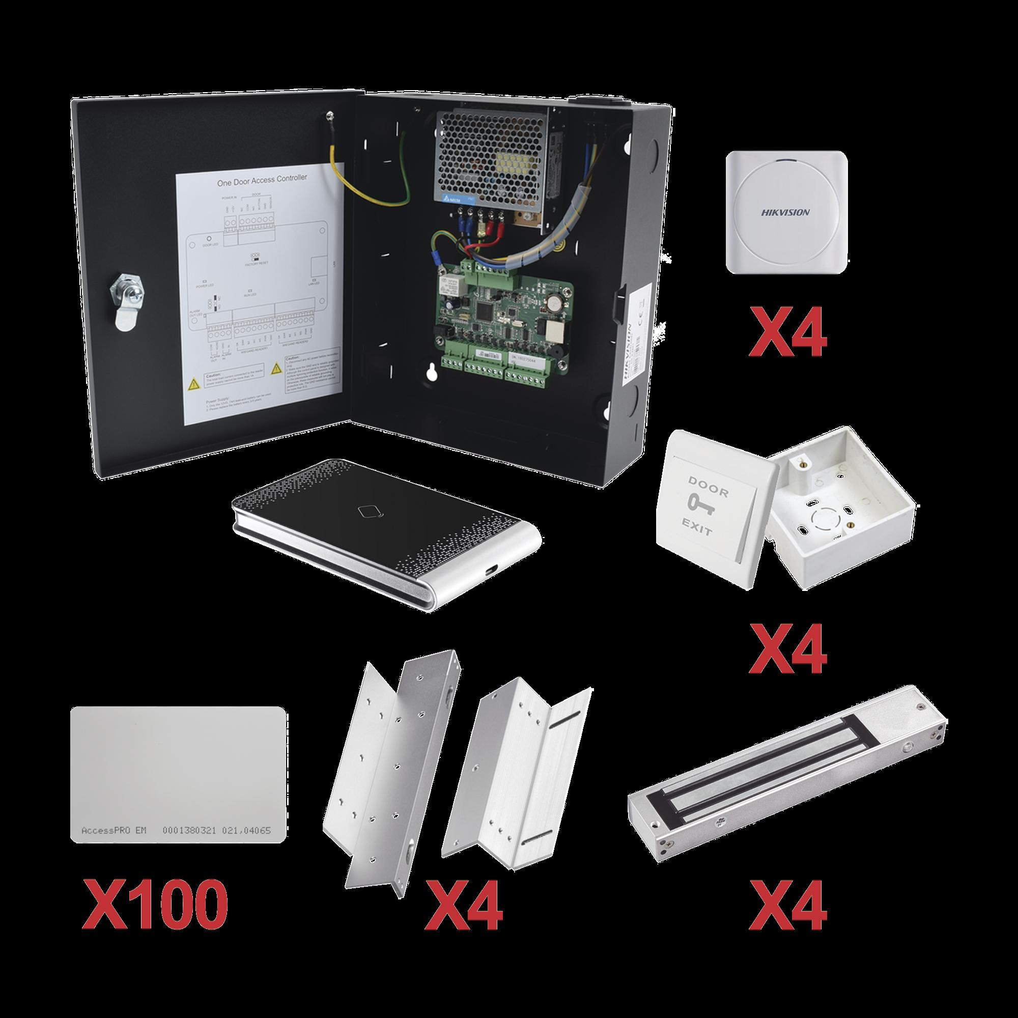 Kit de Control de Acceso con TARJETA para 4 Puertas  / TODO INCLUIDO / Software IVMS4200 incluido