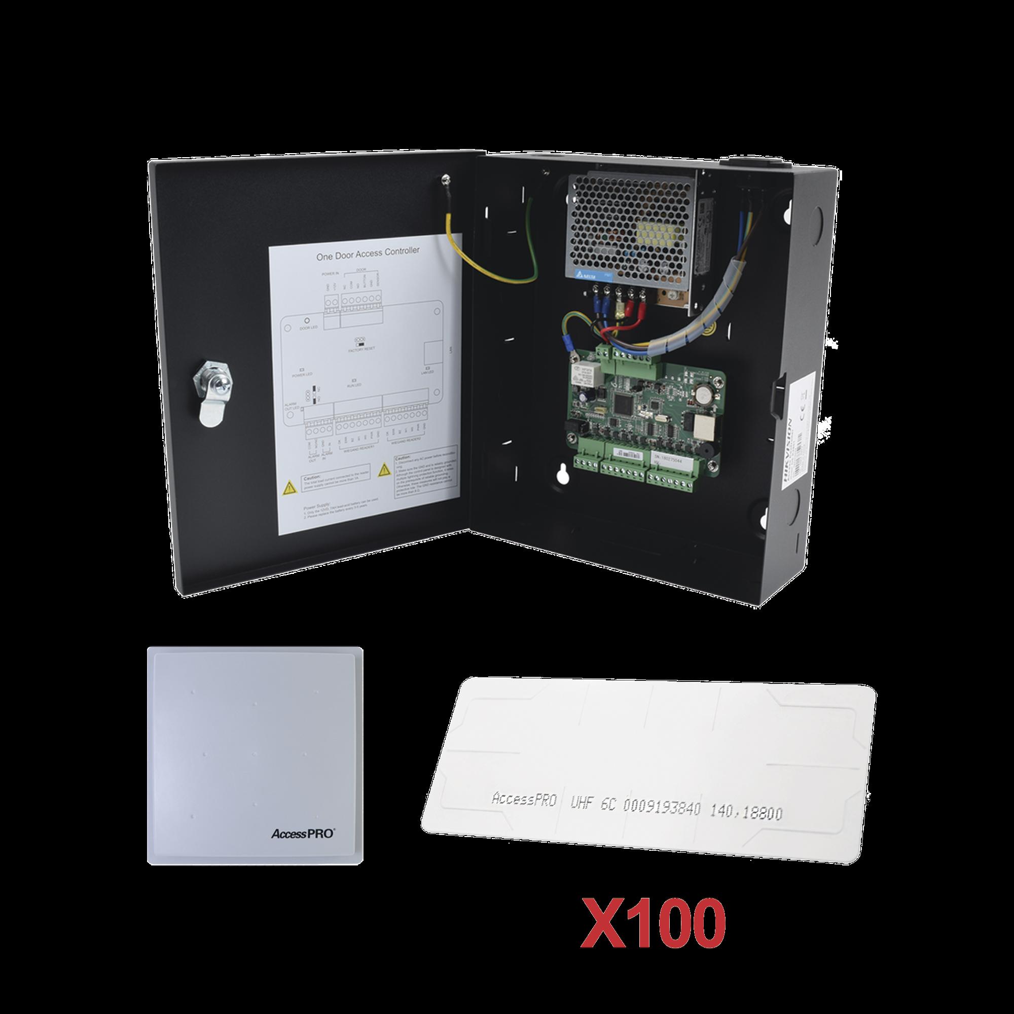Kit para automatizar 1 ACCESO VEHICULAR con STICKERS en Parabrisas de vehiculos / Incluye Panel,  lector y 100 stickers / Software IVMS4200 incluido