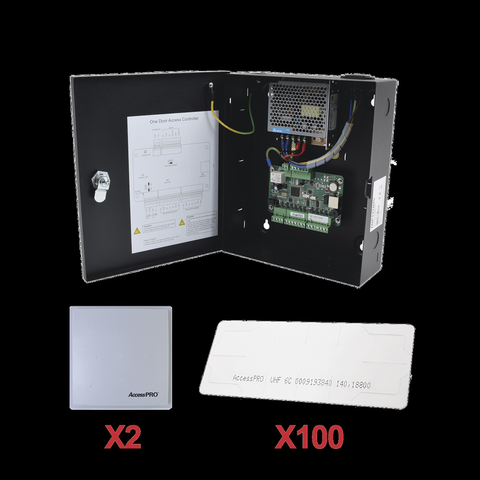 Kit para automatizar 2 ACCESOS VEHICULARES con STICKERS en Parabrisas de vehiculos / Incluye Panel, 2 lectores y 100 stickers / Software IVMS4200 incluido