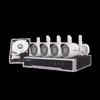 Kit IP Inalámbrico 1080p / NVR 4 Canales / 4 Cámaras Bala para Exterior / 1 HDD de 1 TB / Modo Repetidor