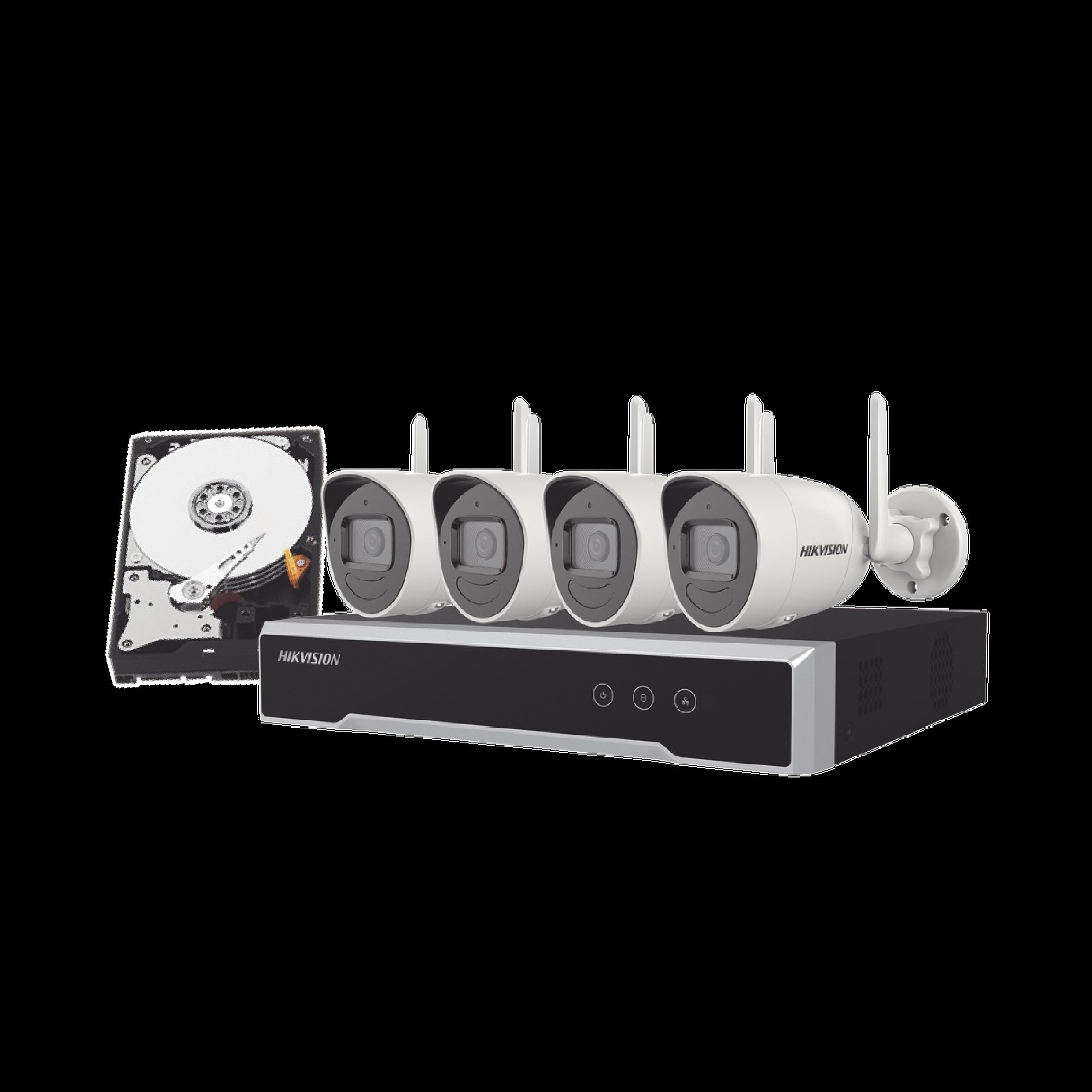 (120 Metros Inalámbricos) Kit IP Inalámbrico 4 Megapixel / NVR 4 Canales / 4 Cámaras Bala para Exterior / 1 HDD de 1 TB / Modo Repetidor