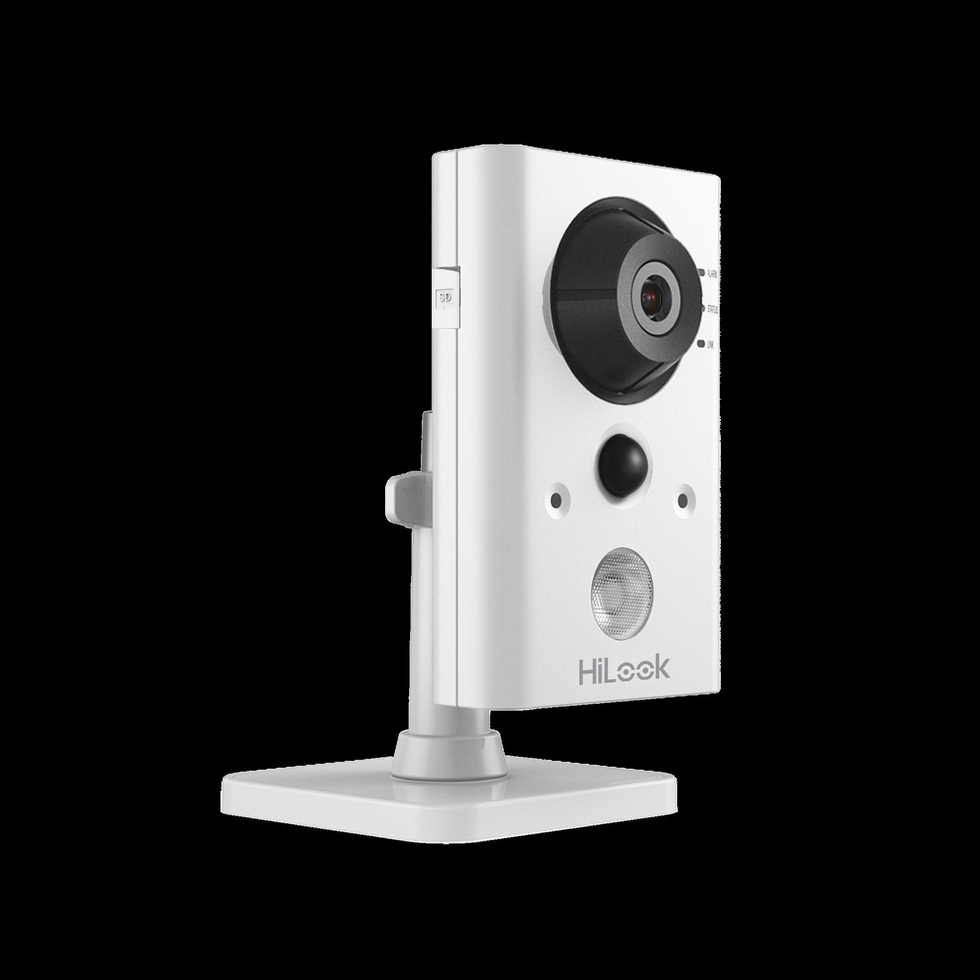 Cubo IP 1 Megapixel / Lente 2.8 mm / 10 mts IR / Sensor PIR Integrado / WiFi / Audio de Dos Vias / Memoria Micro SD / P2P / Entrada y Salida de Audio y Alarma