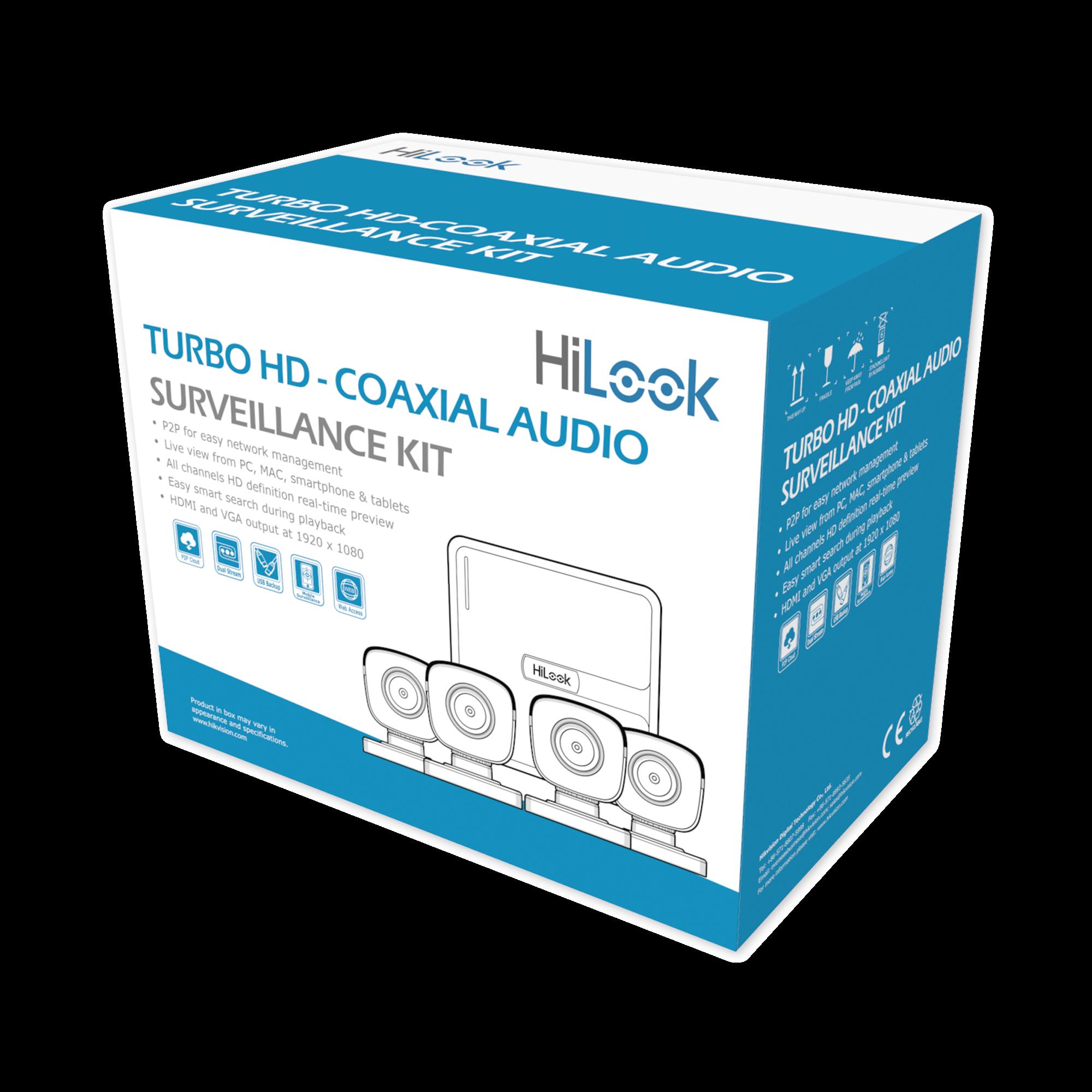 (MICRóFONO INTEGRADO) Kit TurboHD 1080p Lite / DVR 4 canales / Audio por Coaxitron / 4 Cámaras Bala de Policarbonato con Micrófono Integrado