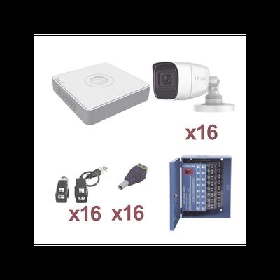 KIT TurboHD 1080p Lite / Incluye DVR 16 Canales / 16 Cámaras Bala 2.8 mm / Transceptores / Conectores / Fuente de Poder Profesional Hasta 15Vcd para Larga Distancias