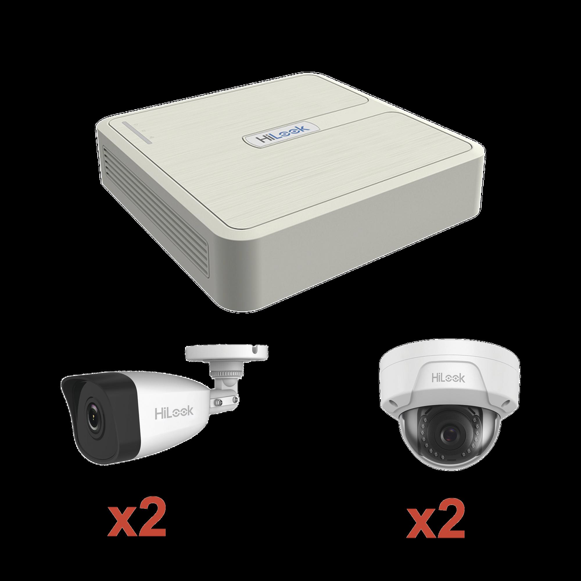 KIT IP 1080p / NVR de 4 Canales / 2 Cámaras IP Bala / 2 Cámaras IP Domo