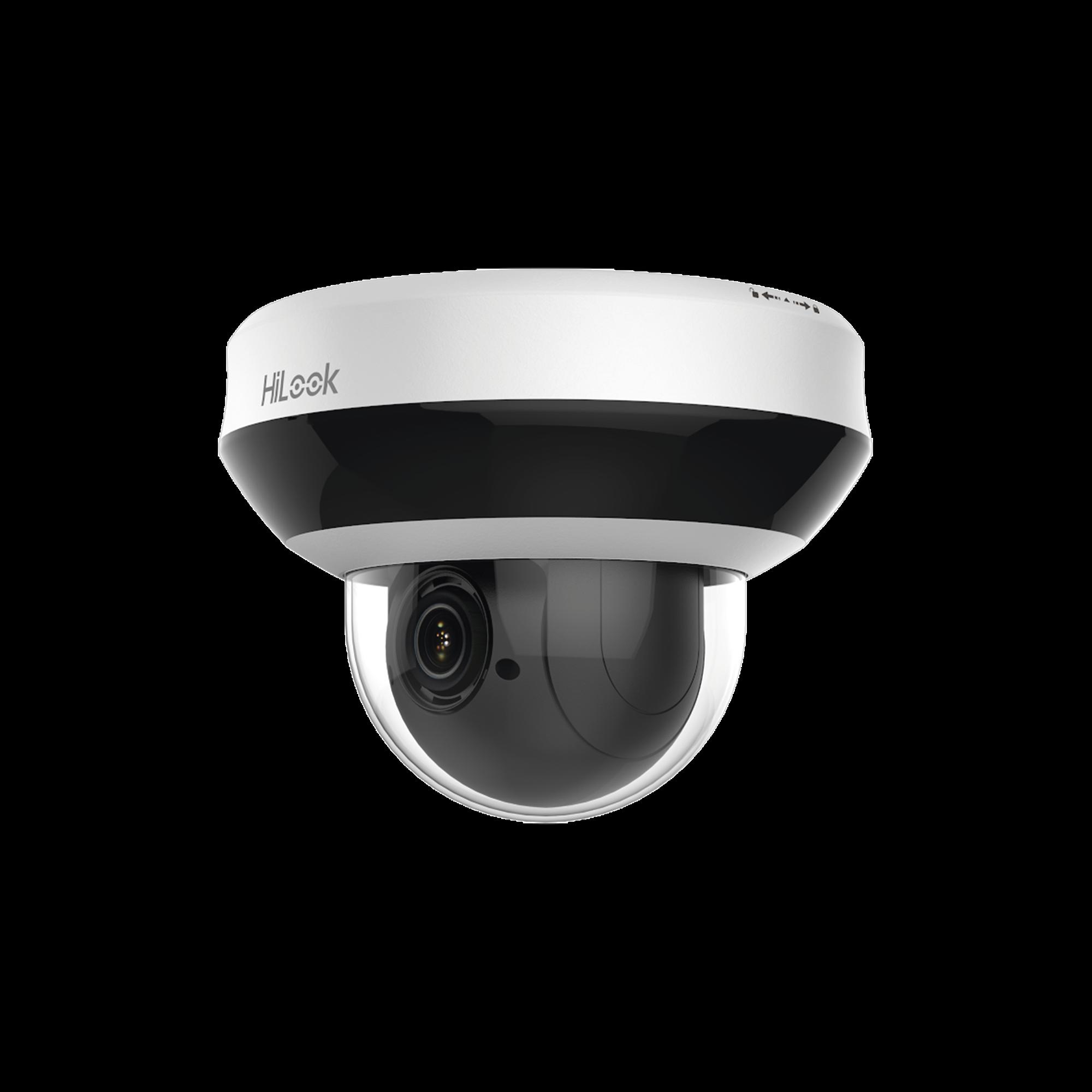 Mini PTZ IP 4 Megapixel / 4X Zoom / H.265+ / 20 mts IR EXIR / WDR / PoE / IK10 / Exterior IP66 / Ultra Baja Iluminación / Micrófono Integrado / PoE