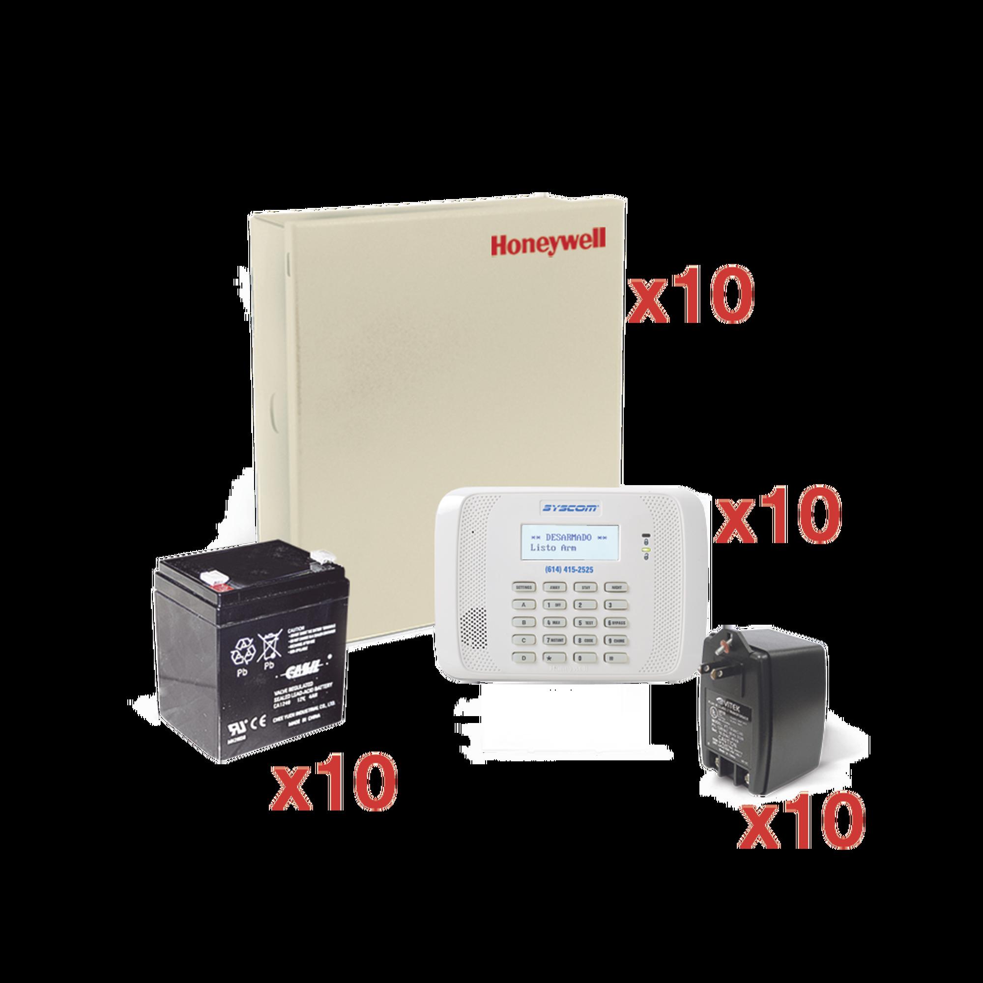Kit de 10 Paneles de Alarma VISTA48 con Bateria y Transformador