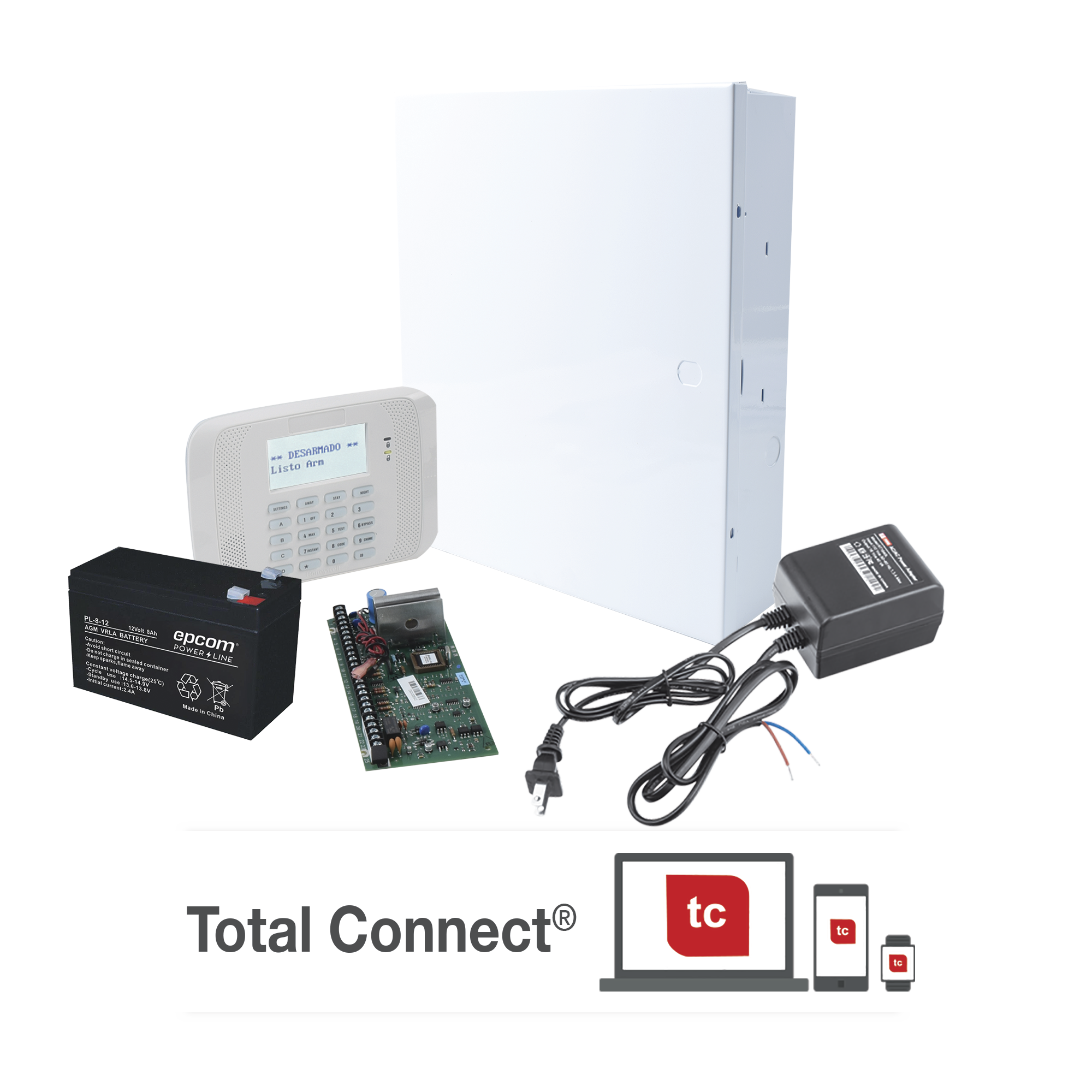 Kit de Panel de Alarma VISTA48LA con  Batería de 9Ah, Transformador y Gabinete
