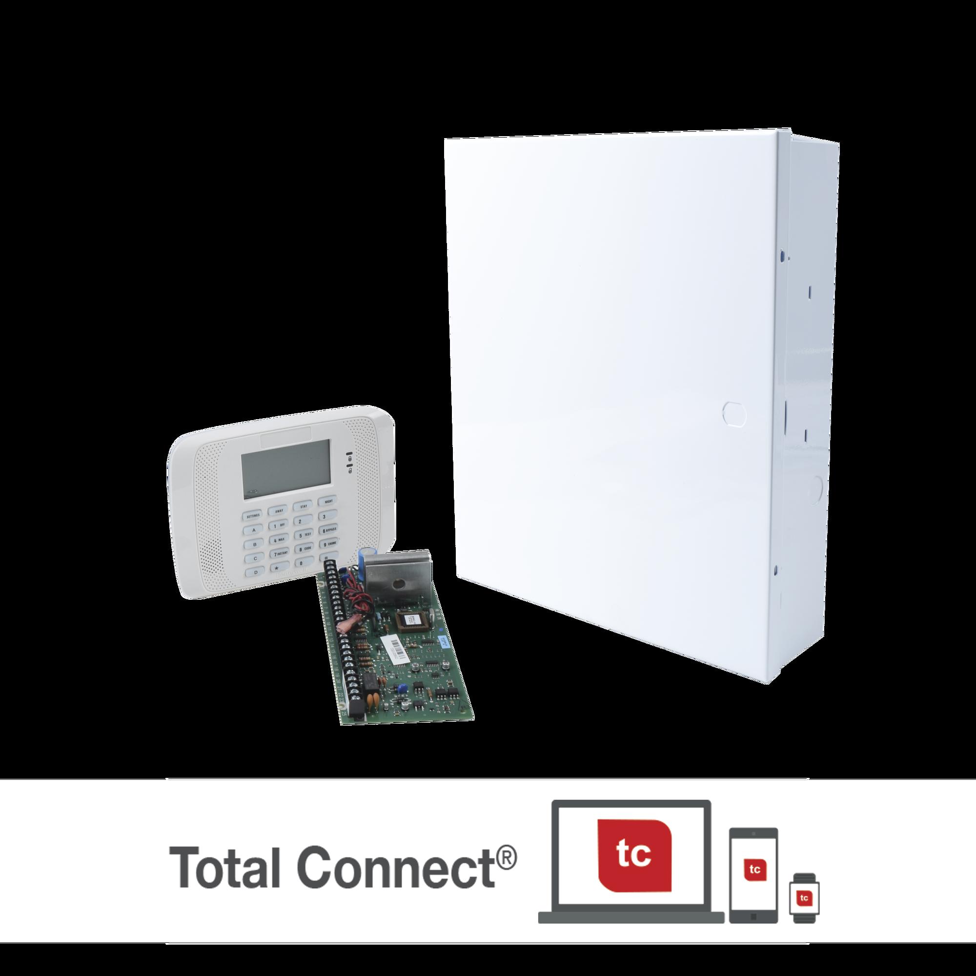 Sistema de Alarma de 8 Zonas con Teclado LCD Alfanumerico y Receptor Inalambrico para 40 Sensores