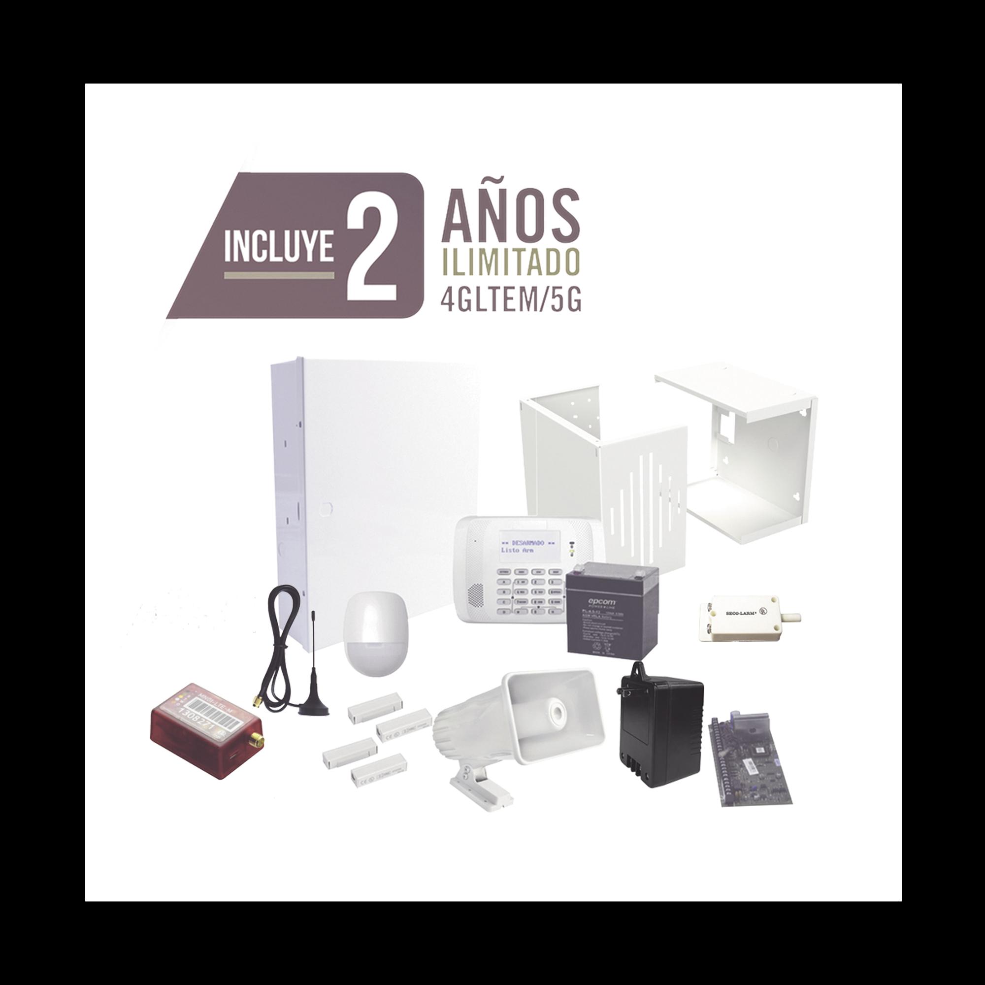 KIT de Alarma con 2 AnnOS de Comunicacion Ilimitada 3G/4G/ Con Redundancia de sennal PREMIUM sin costo adicional.