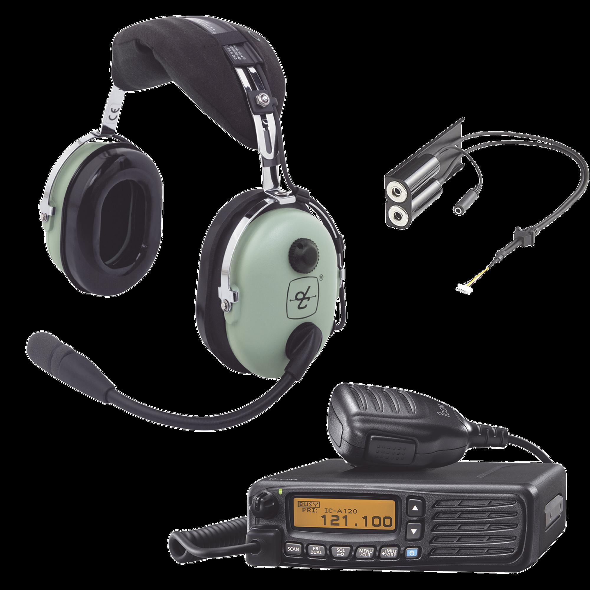 Kit Radio Movil Aéreo Icom con Auricular David Clark para Aviación General