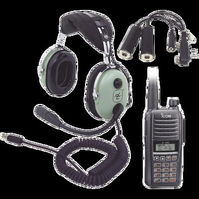 Kit Radio Portátil  Aéreo Icom con Auricular David Clark para Helicopteros