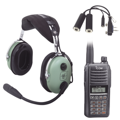 Kit Radio Portátil Aéreo Icom con Auricular David Clark para Aviación General