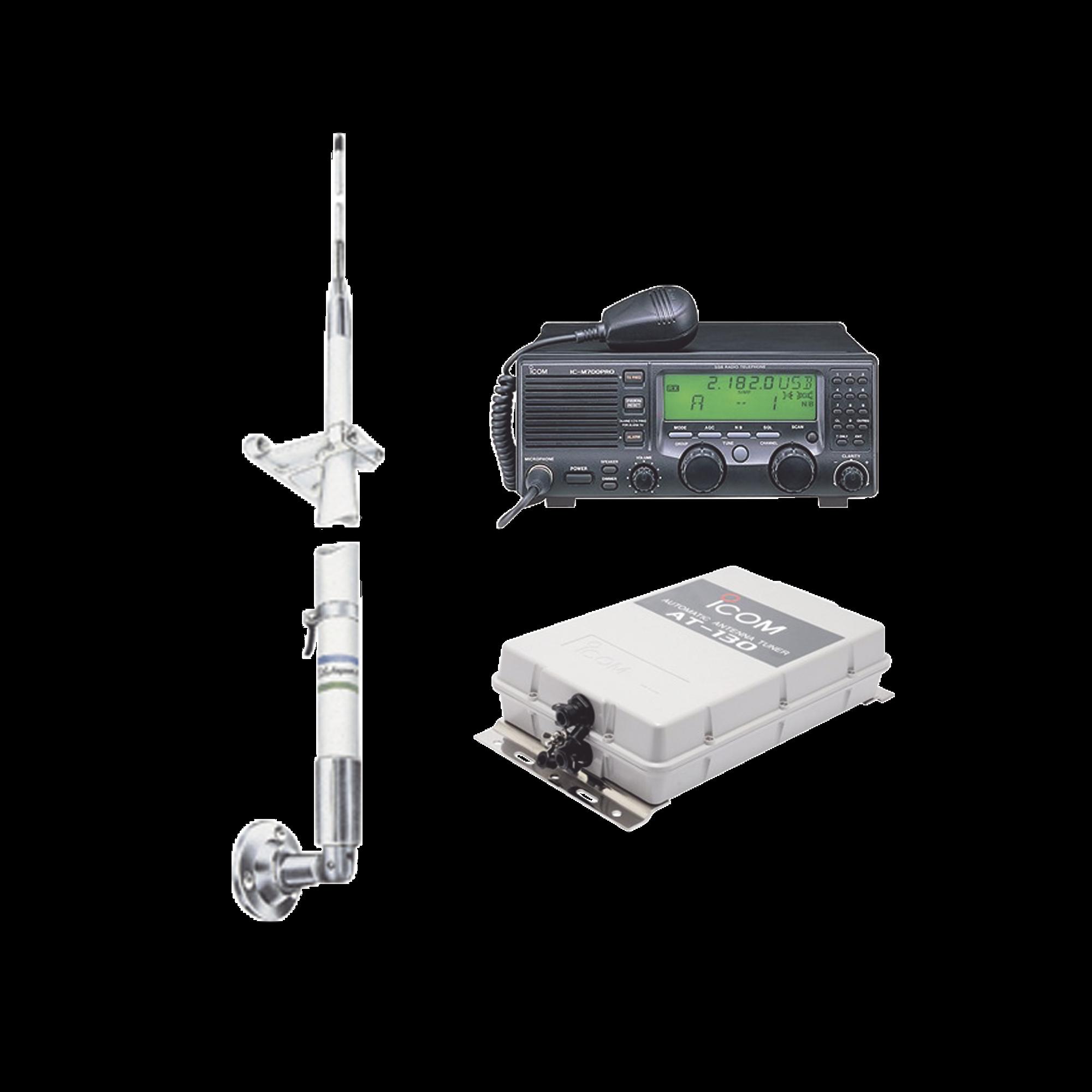Kit de radio IC-M700pro con sintonizador de antena AT-130 y antena HF Shakespeare 390