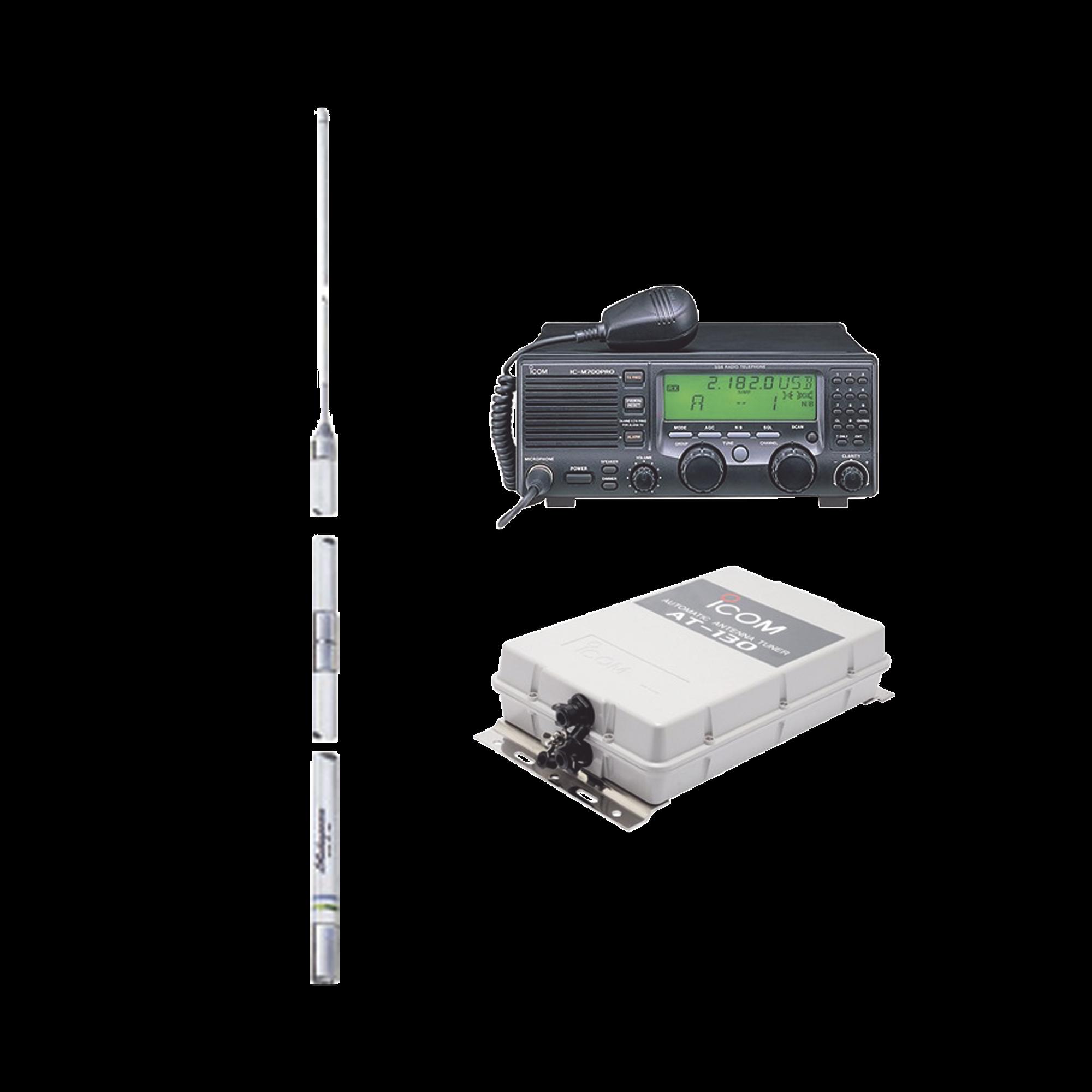 Kit de radio IC-M700pro con sintonizador de antena AT-130 y antena HF Shakespeare 393