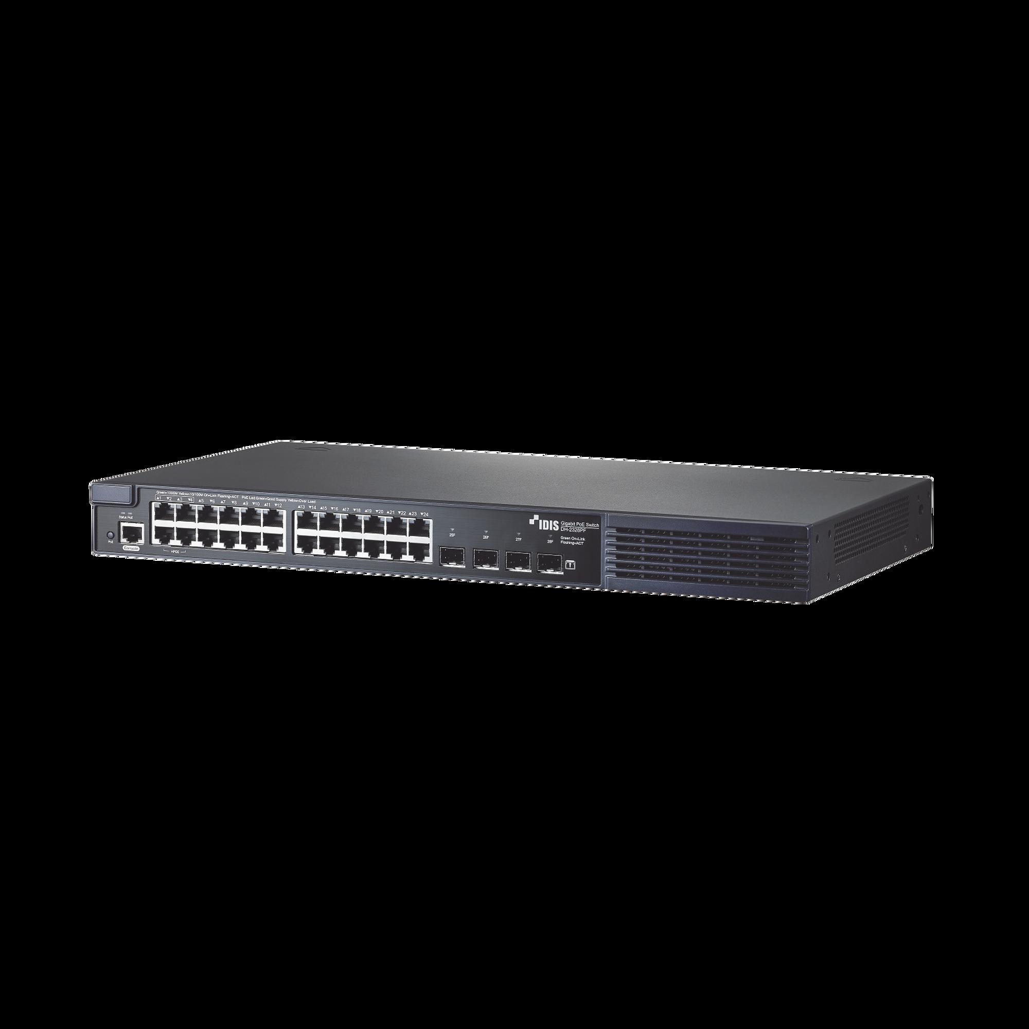 Switch PoE 802.3af/at   DirectIP Gigabit   24 puertos RJ45   4 Puertos Fibra optica   380W PoE