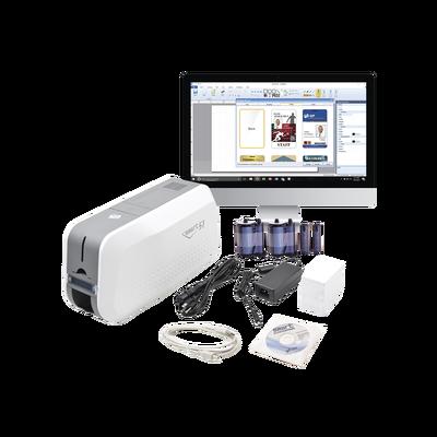 Kit de Impresora tarjetas PVC/ Puede Crecer a Laminador/ Doble Cara / Incluye: 2 x Ribbon a Color, 100 tarjetas PVC, Software, 1 Kit de Limpieza