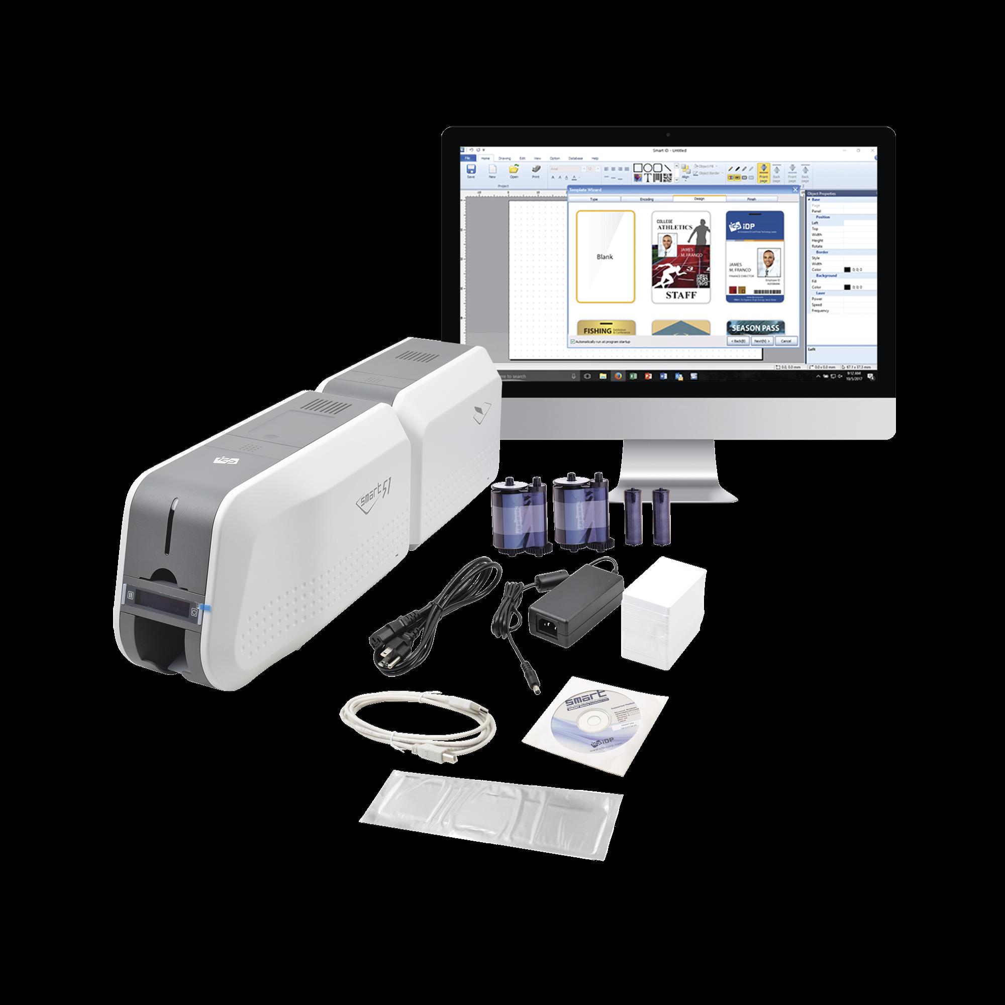 Kit Impresora SMART51L / Con Laminador /DOBLE Lado/3 Años Garantia / Incluye 2 x  RibbonColor / 100 tarjetas PVC/ 1 Cinta de Limpieza/ Software