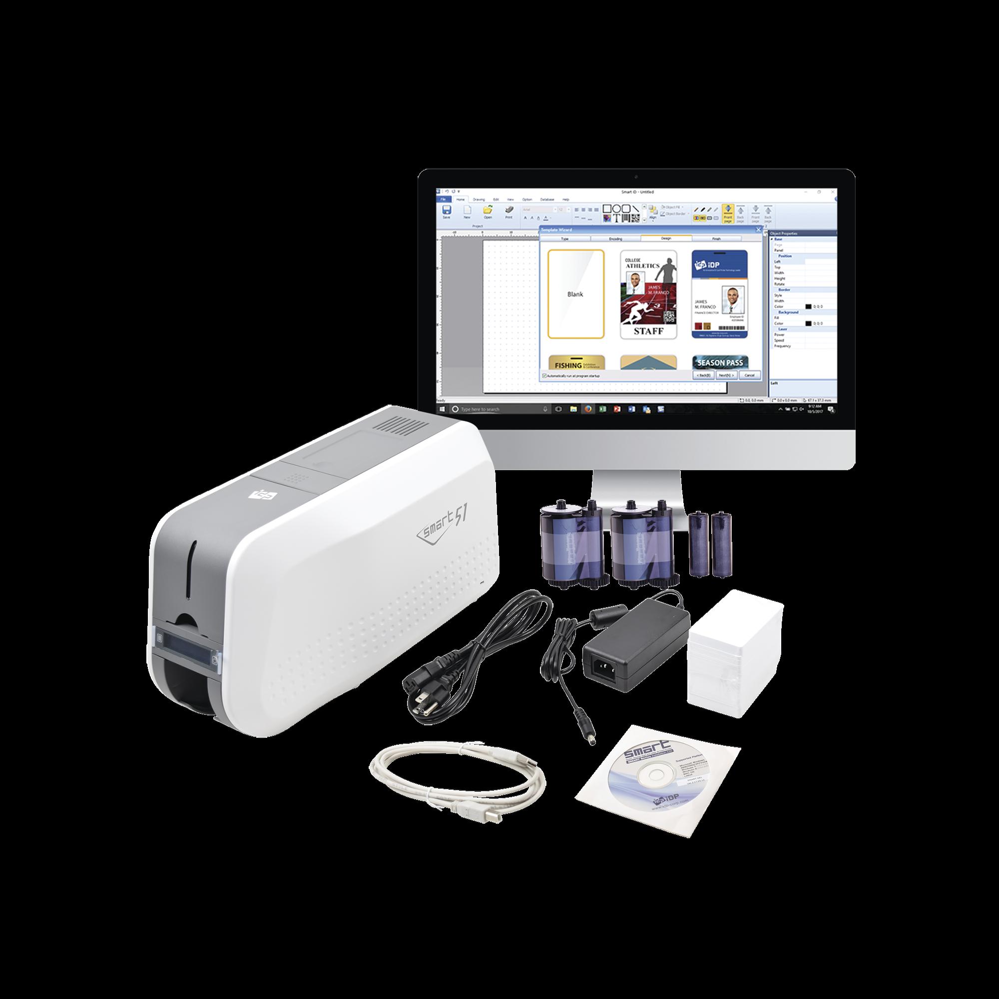 Kit de Impresora tarjetas de PVC / Puede Crecer a Laminador/ Una Cara / Incluye: 2 x Ribbon a Color, 100 Tarjetas PVC, Kit de Limpieza, Software
