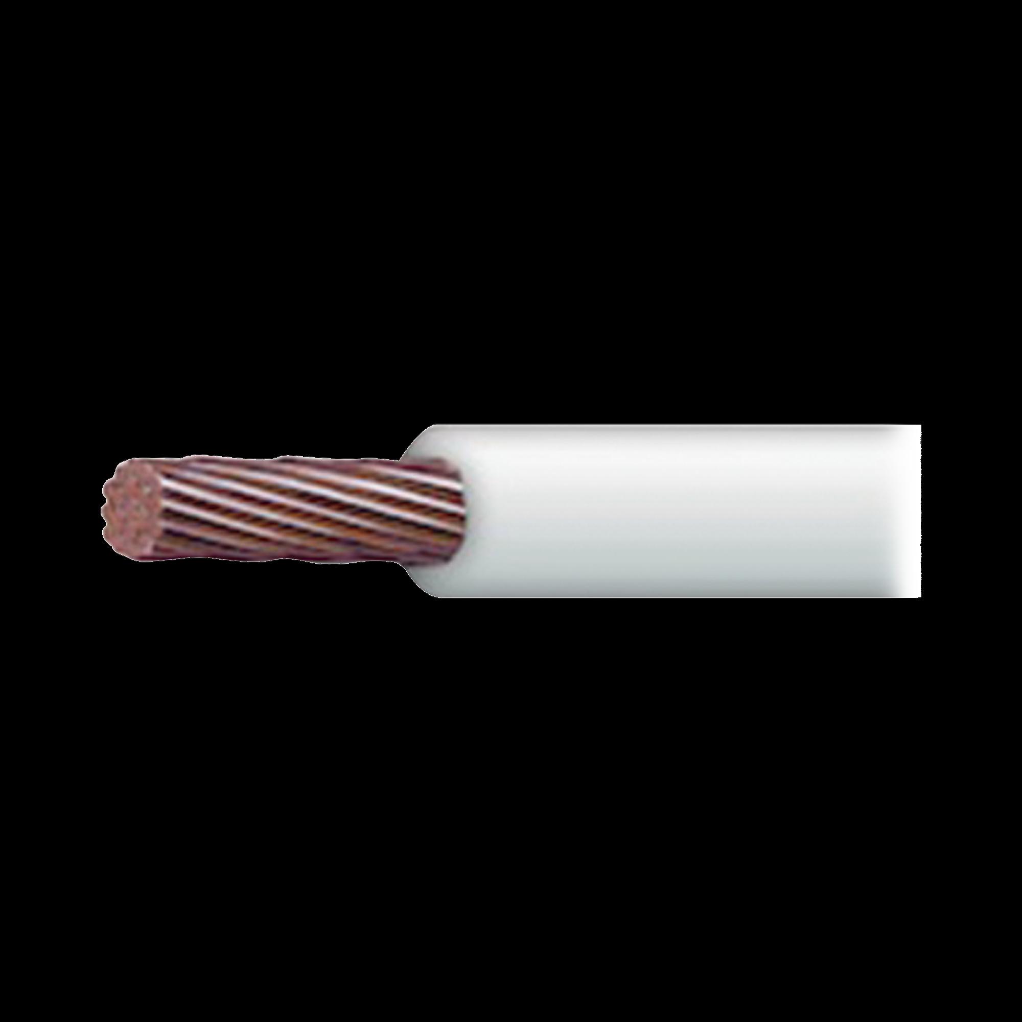 Cable 18 awg  color blanco, Conductor de cobre suave. Aislamiento de PVC, auto-extinguible. BOBINA de 100 MTS