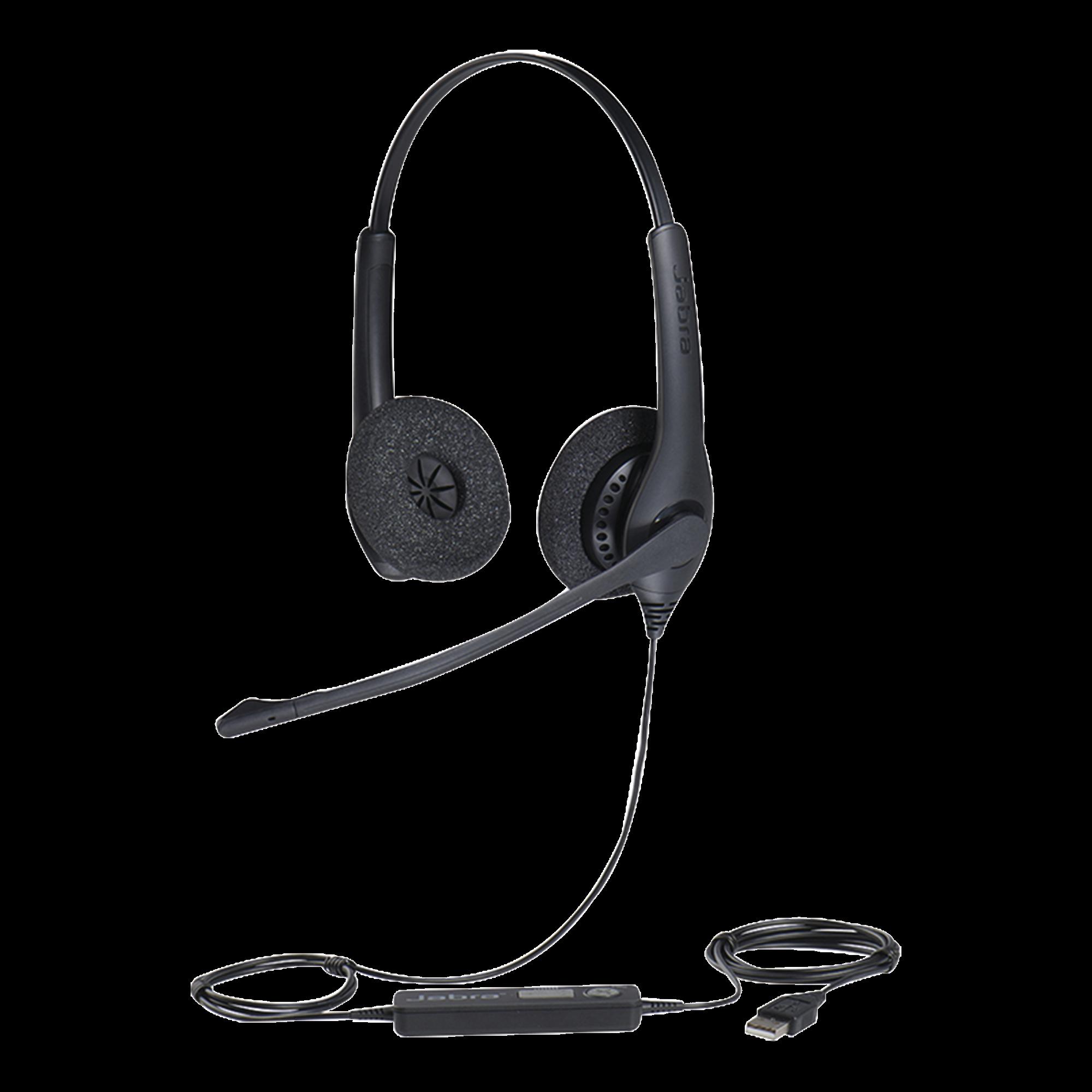 Jabra Biz 1500 Duo, auricular profesional con cancelación de ruido, ideal para contact center con conexión USB (1559-0159)