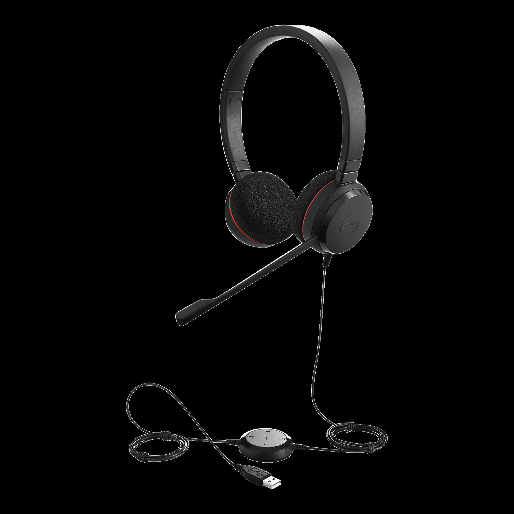 Jabra Evolve 20 DUO con conexión USB, micrófono con cancelación de ruido de ultima generación, configuración Plug and Play (4999-829-209)