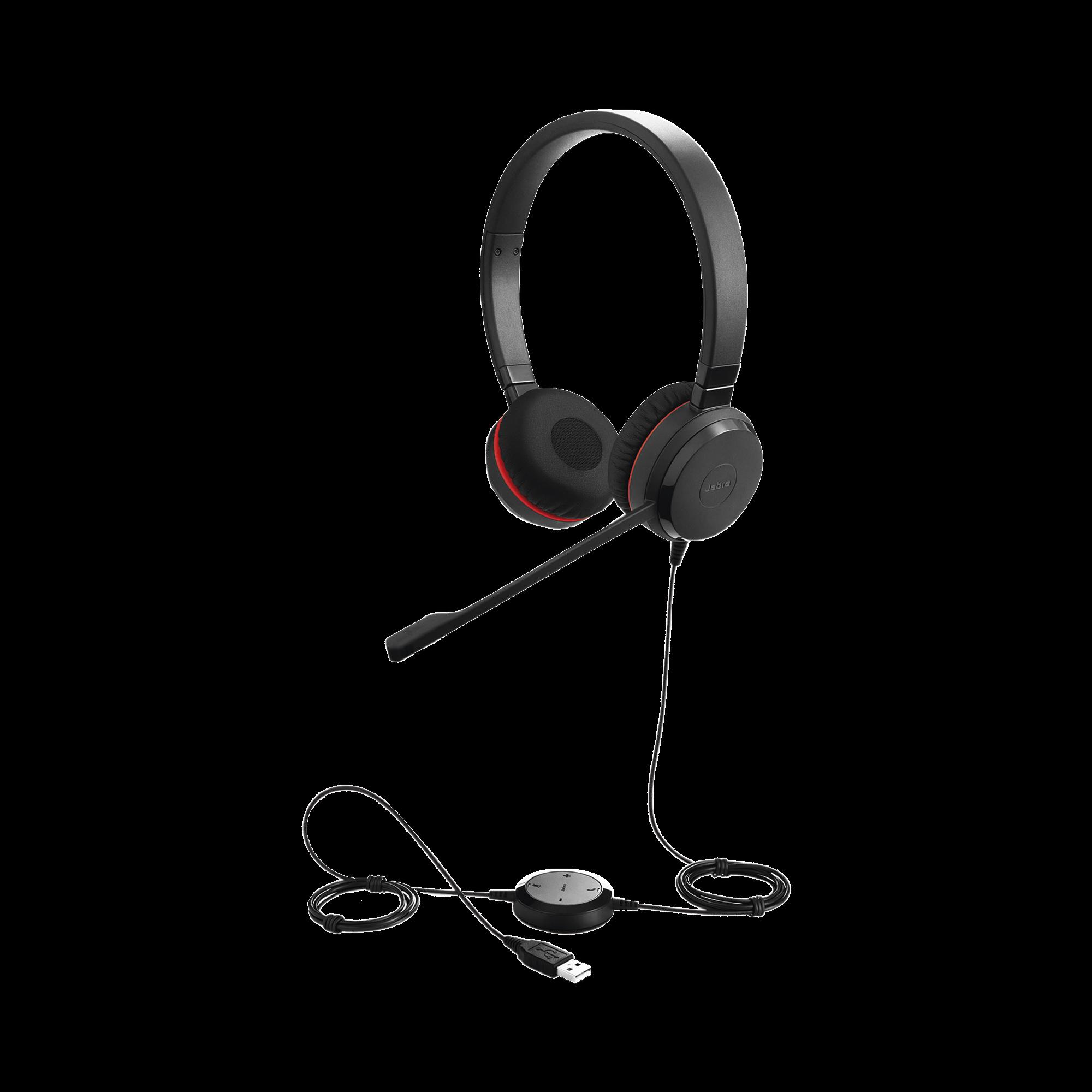Jabra Evolve 30 Duo con conexión USB / 3.5mm, micrófono con cancelación de ruido y controlador en el cable con botones e indicadores LED (5399-829-309)