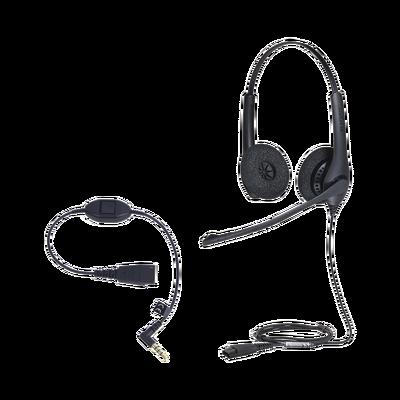 KIT, Diadema con cancelación de ruido, con accesorio para conexiones 3.5mm Incluye modelos BIZ-1500-DUO-QD y MOBILE-QD-35MM-S